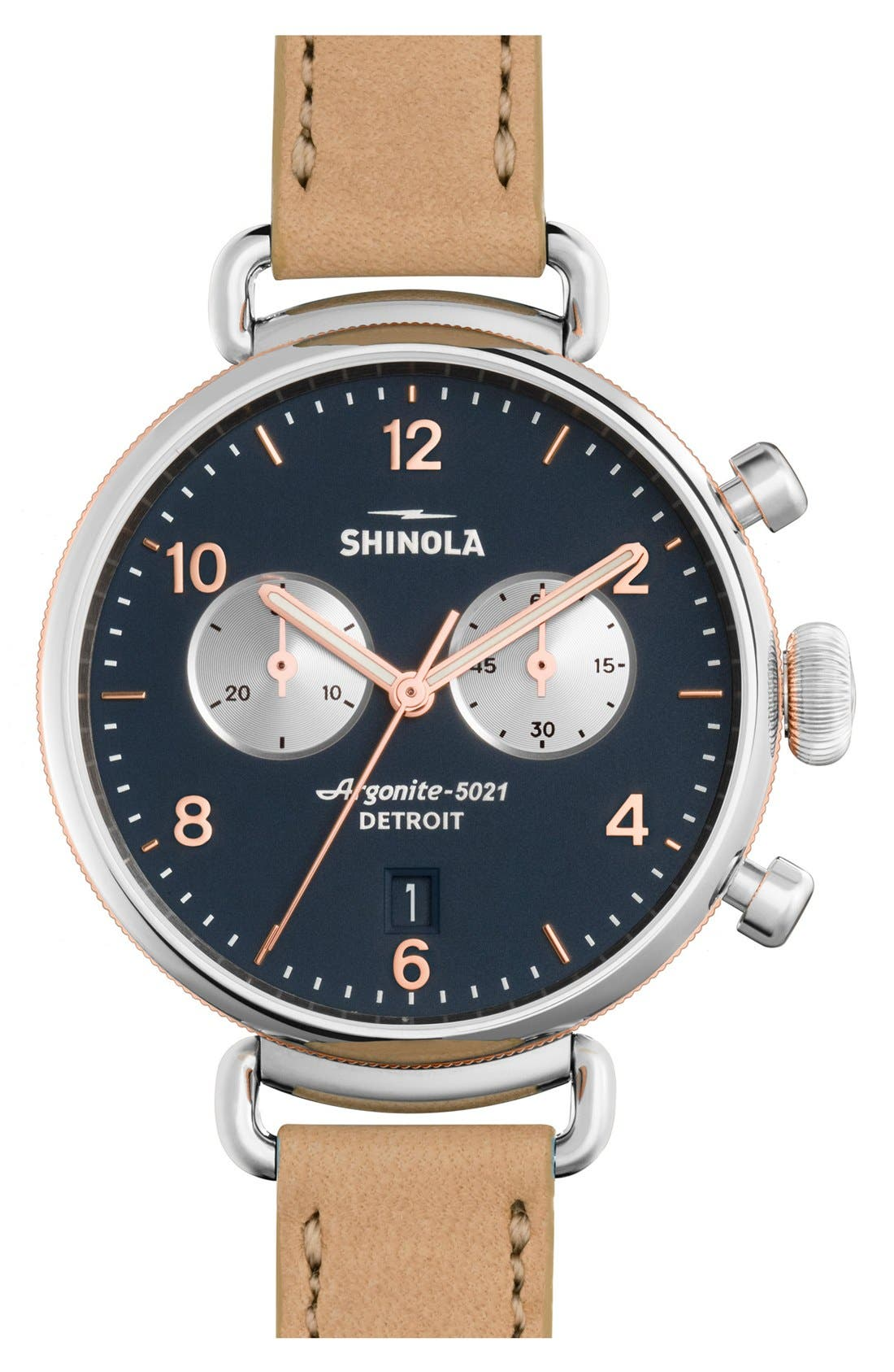 SHINOLA 'The Canfield Chrono' Leather Strap Watch, 38mm, Main, color, NATURAL/ MIDNIGHT BLUE