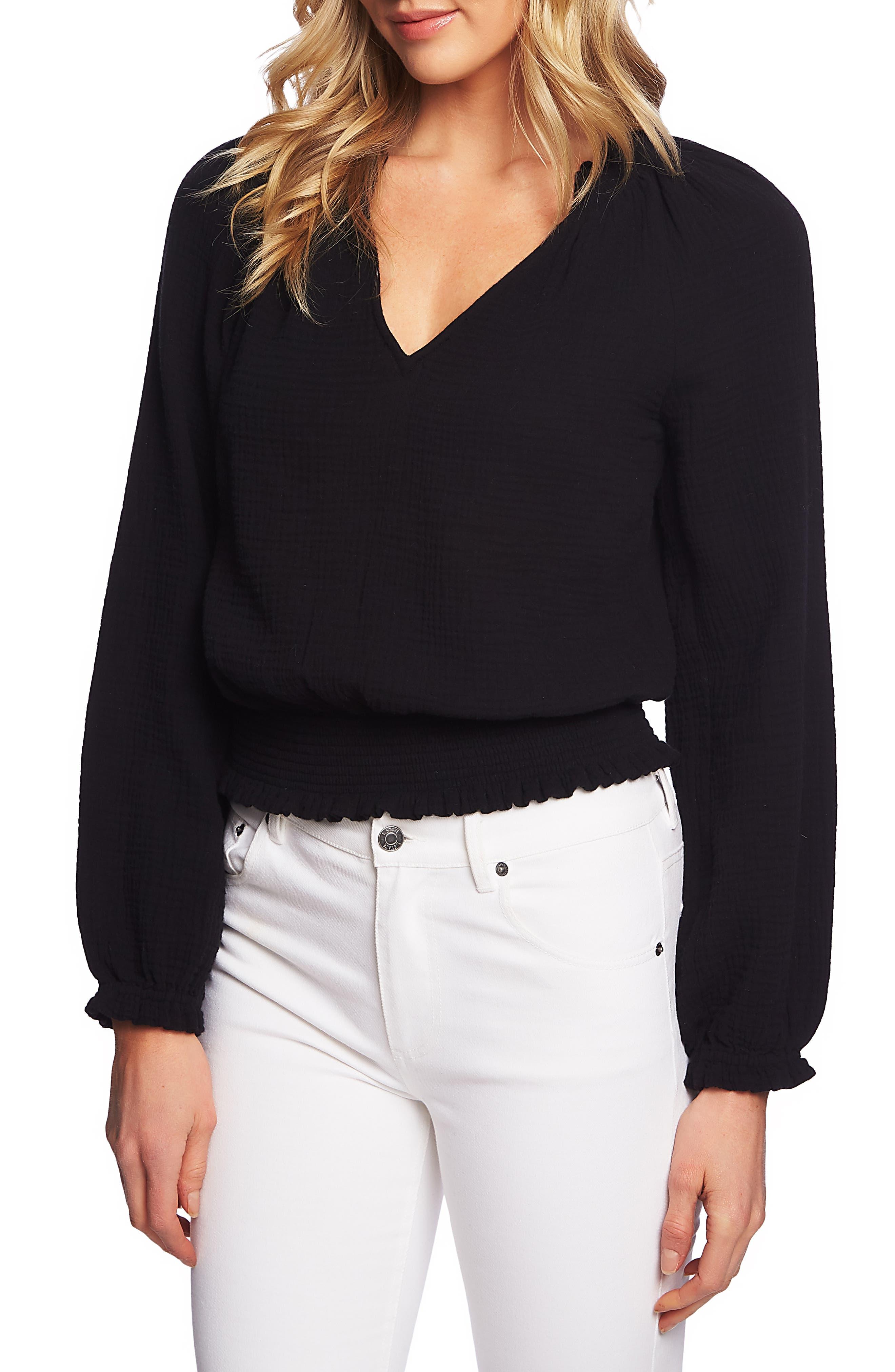 1.STATE, Smocked Top, Main thumbnail 1, color, RICH BLACK