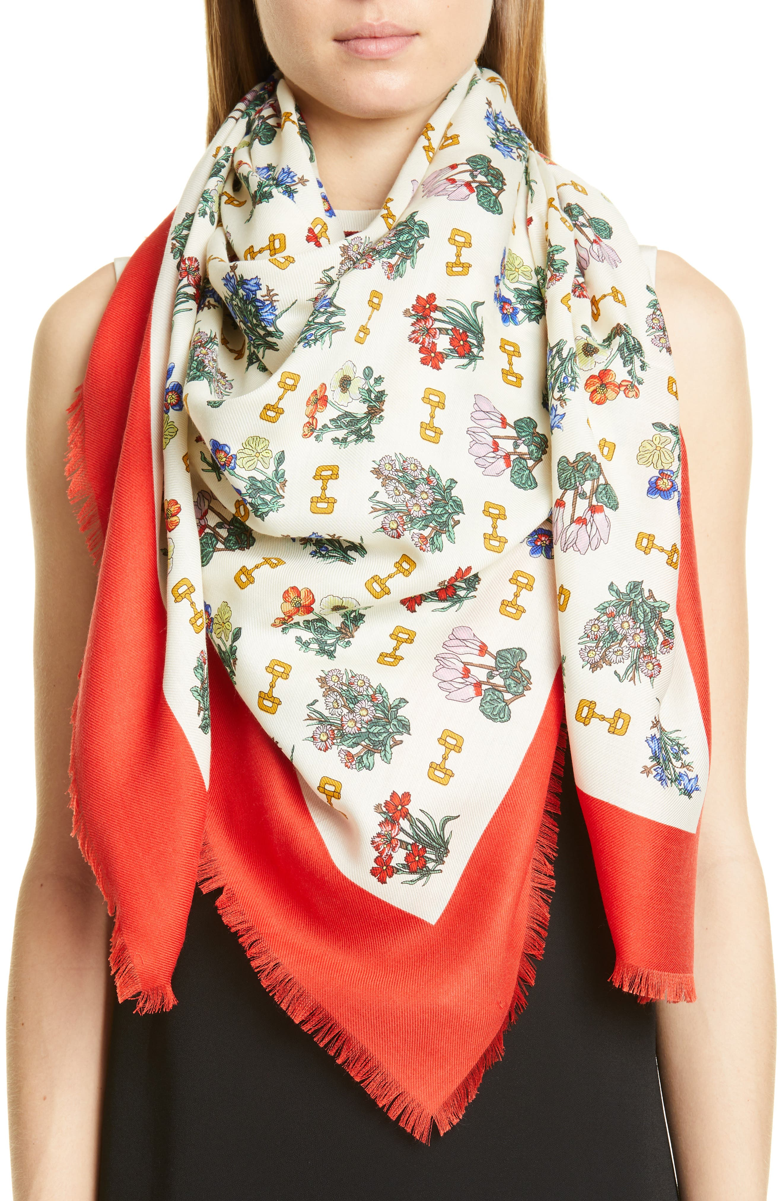 GUCCI, Light Cyclamen Cashmere & Silk Scarf, Alternate thumbnail 2, color, IVORY/ RED