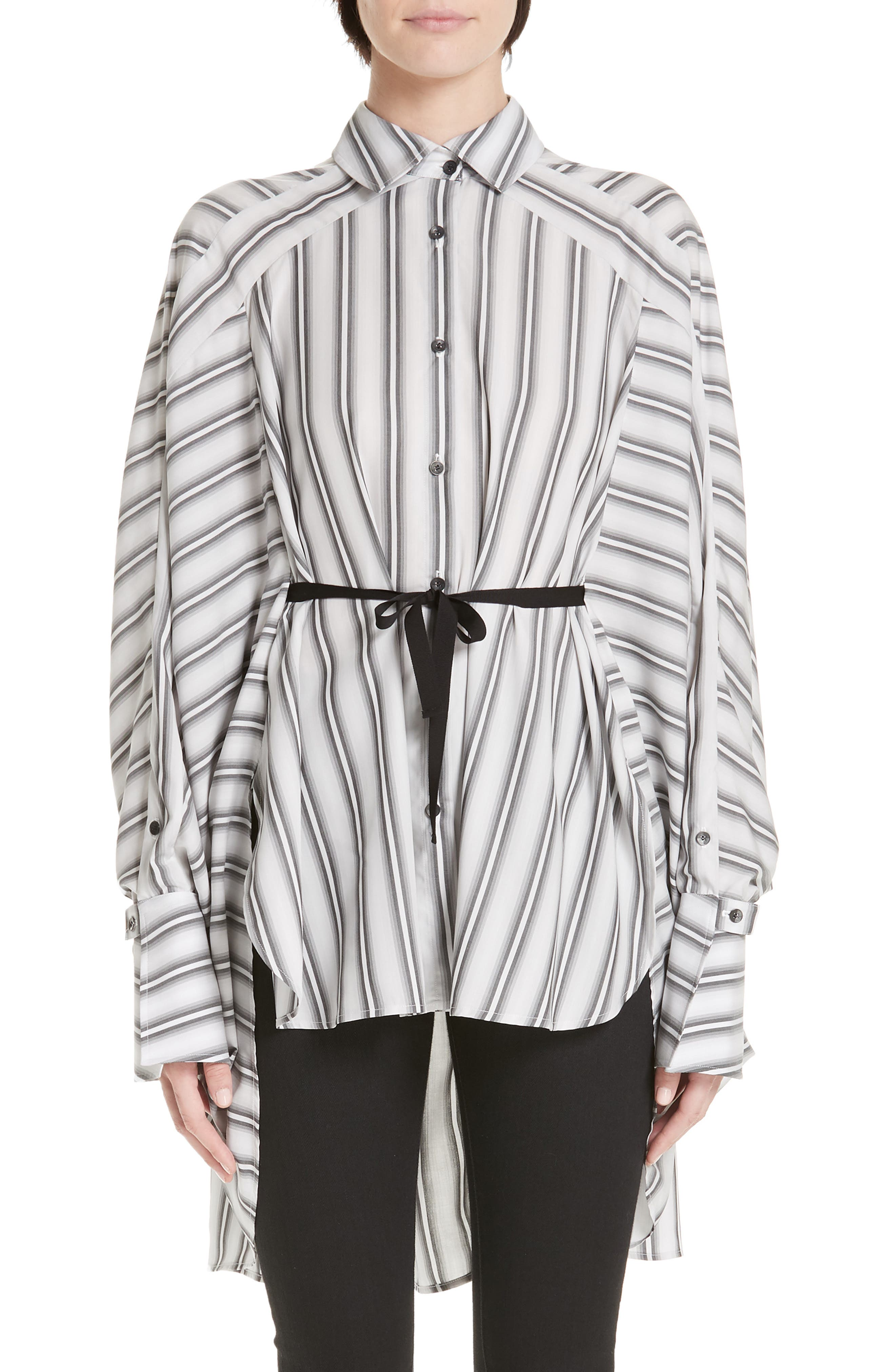 PALMER/HARDING, Streep Stripe Shirt, Alternate thumbnail 7, color, GRADIENT STRIPE WITH BLACK