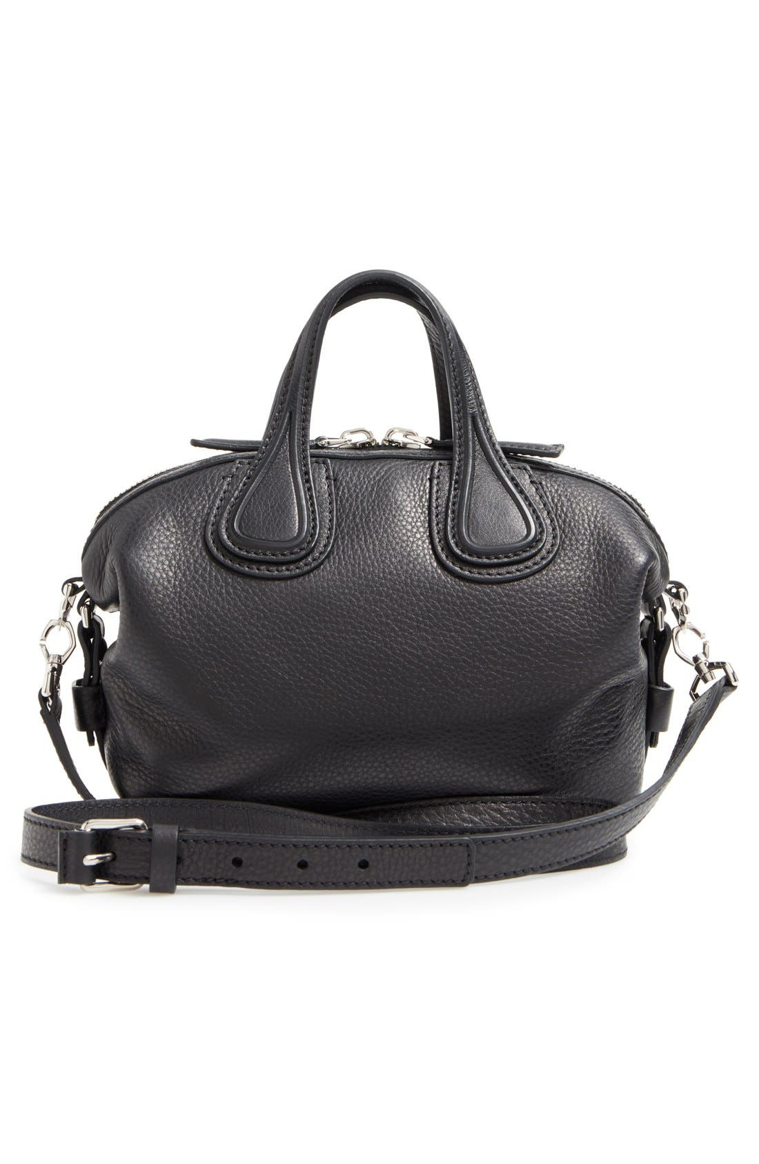 GIVENCHY, Micro Nightingale Leather Satchel, Alternate thumbnail 2, color, 001