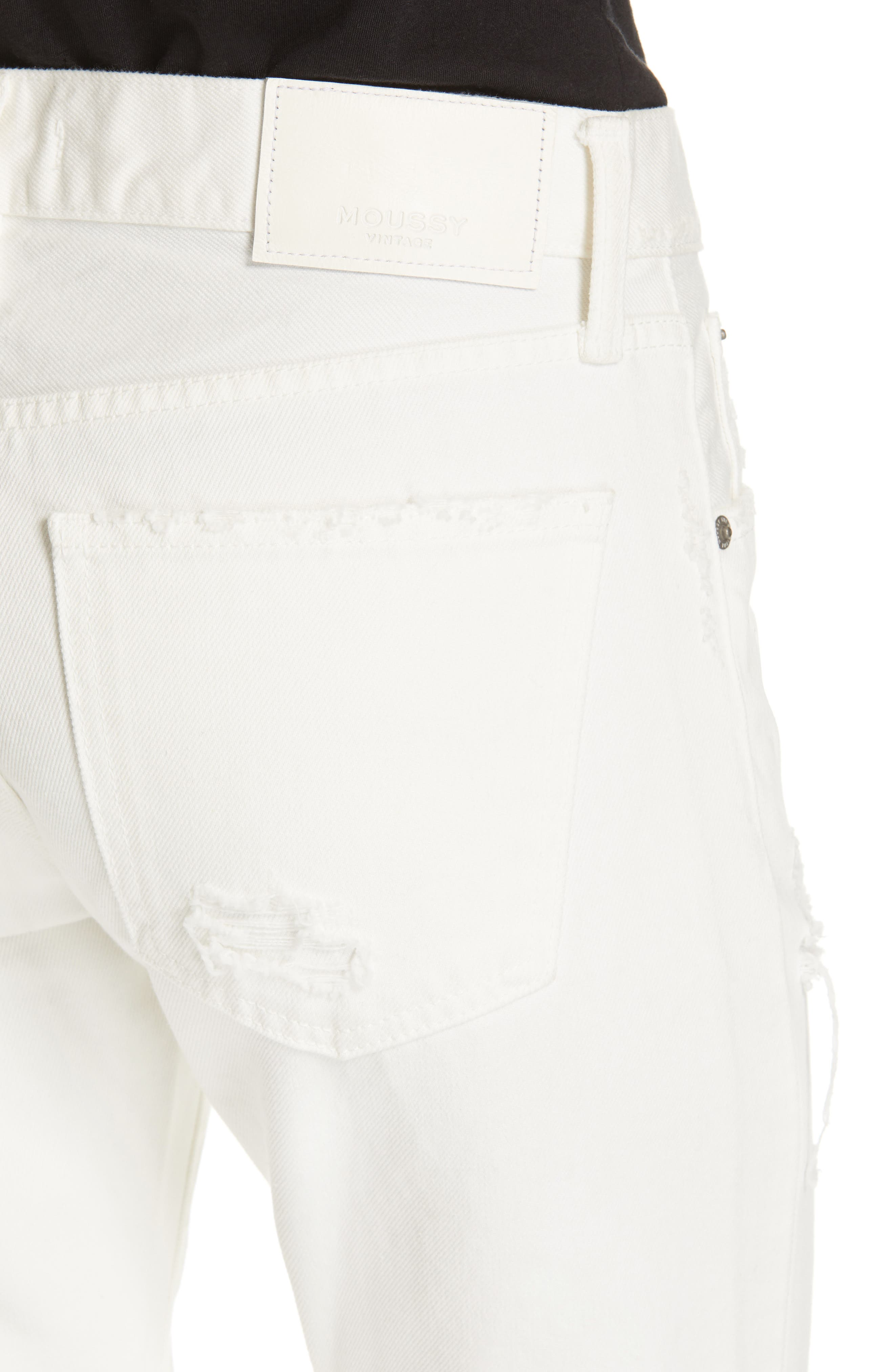 MOUSSY VINTAGE, Kelley Tapered Crop Jeans, Alternate thumbnail 4, color, WHITE