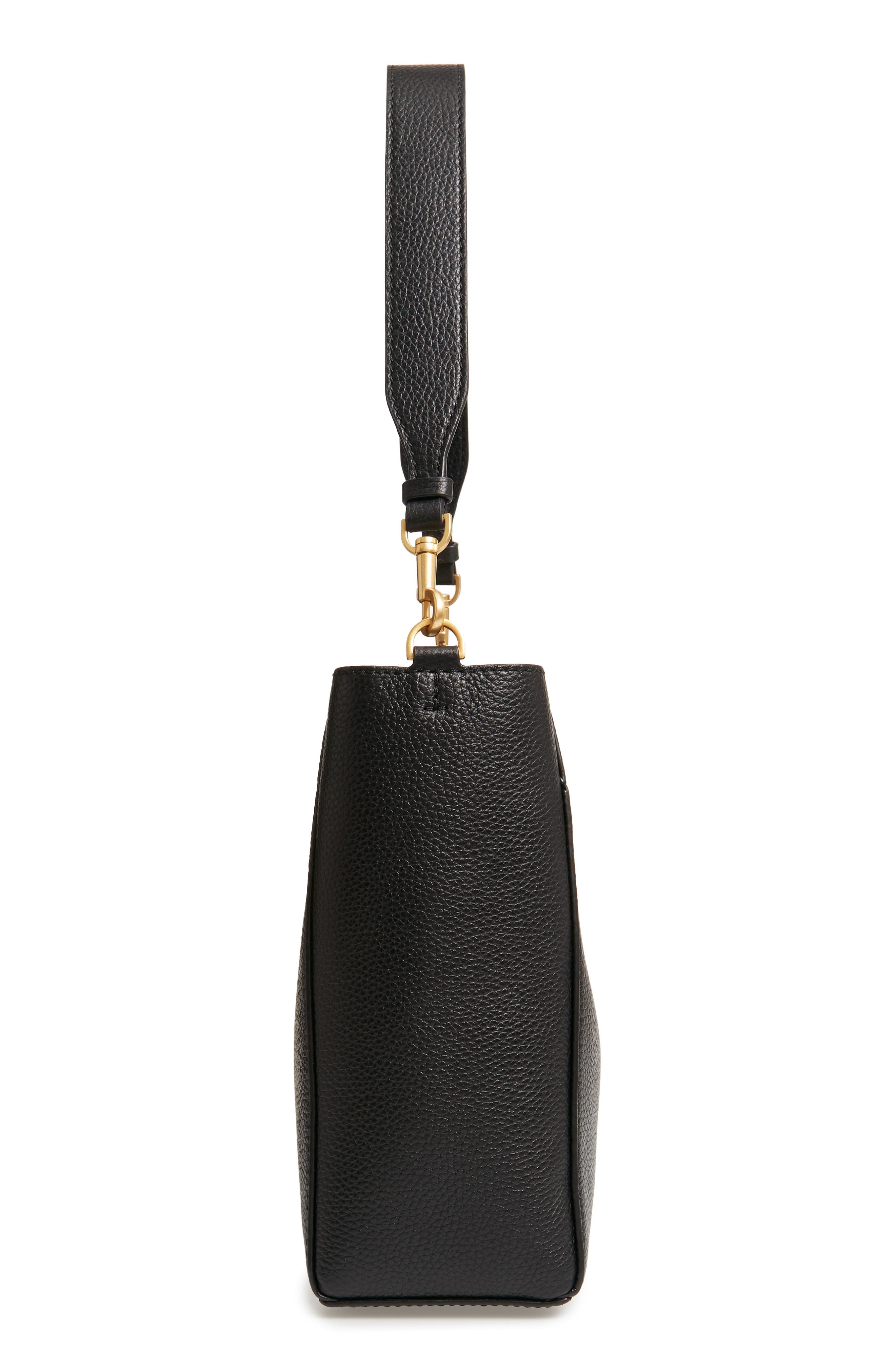 TORY BURCH, McGraw Leather Hobo, Alternate thumbnail 7, color, BLACK