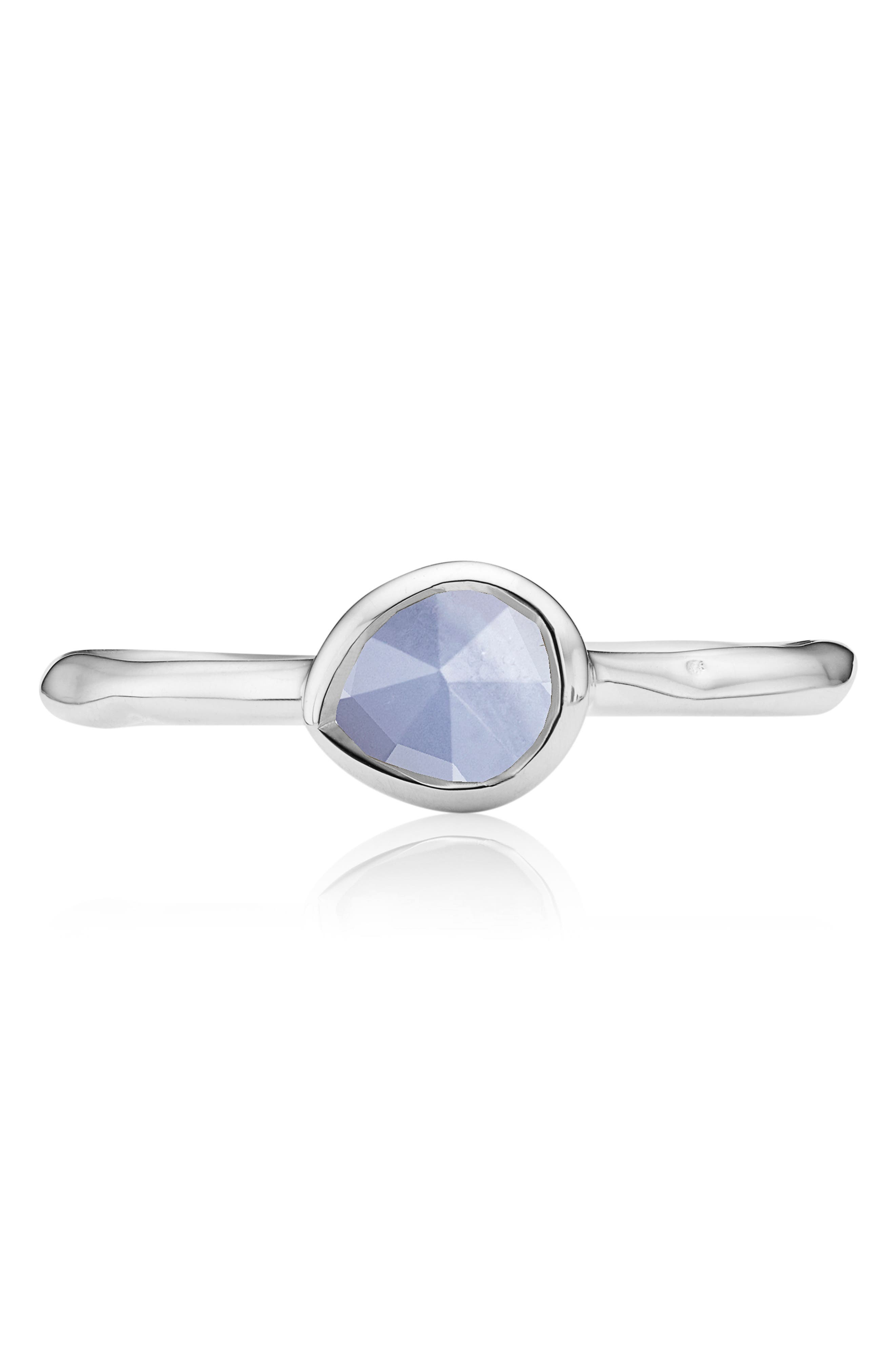 MONICA VINADER, Siren Small Stacking Ring, Alternate thumbnail 3, color, SILVER/ BLUE LACE AGATE