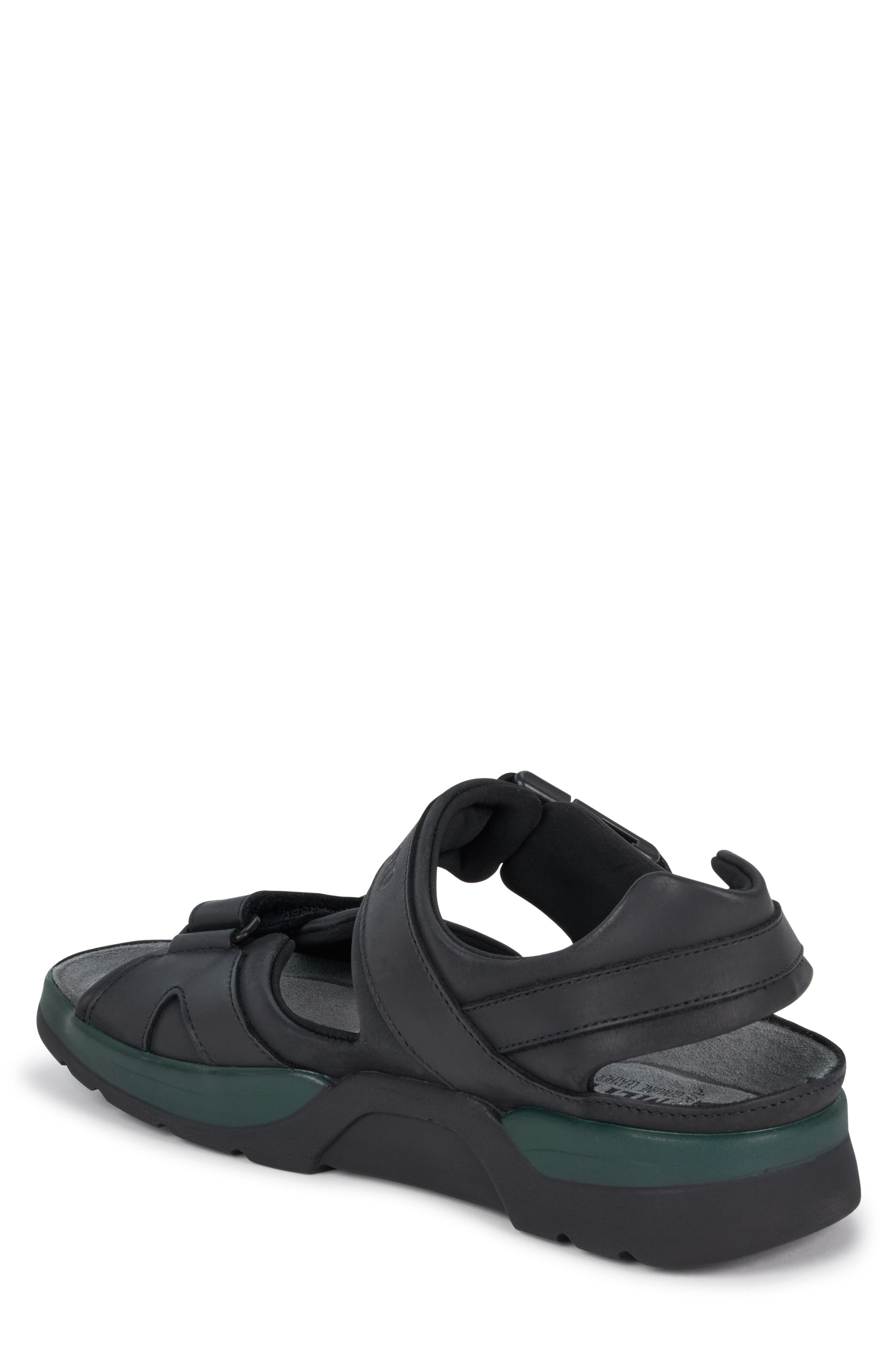 MEPHISTO, 'Shark' Sandal, Alternate thumbnail 2, color, BLACK WAXED LEATHER