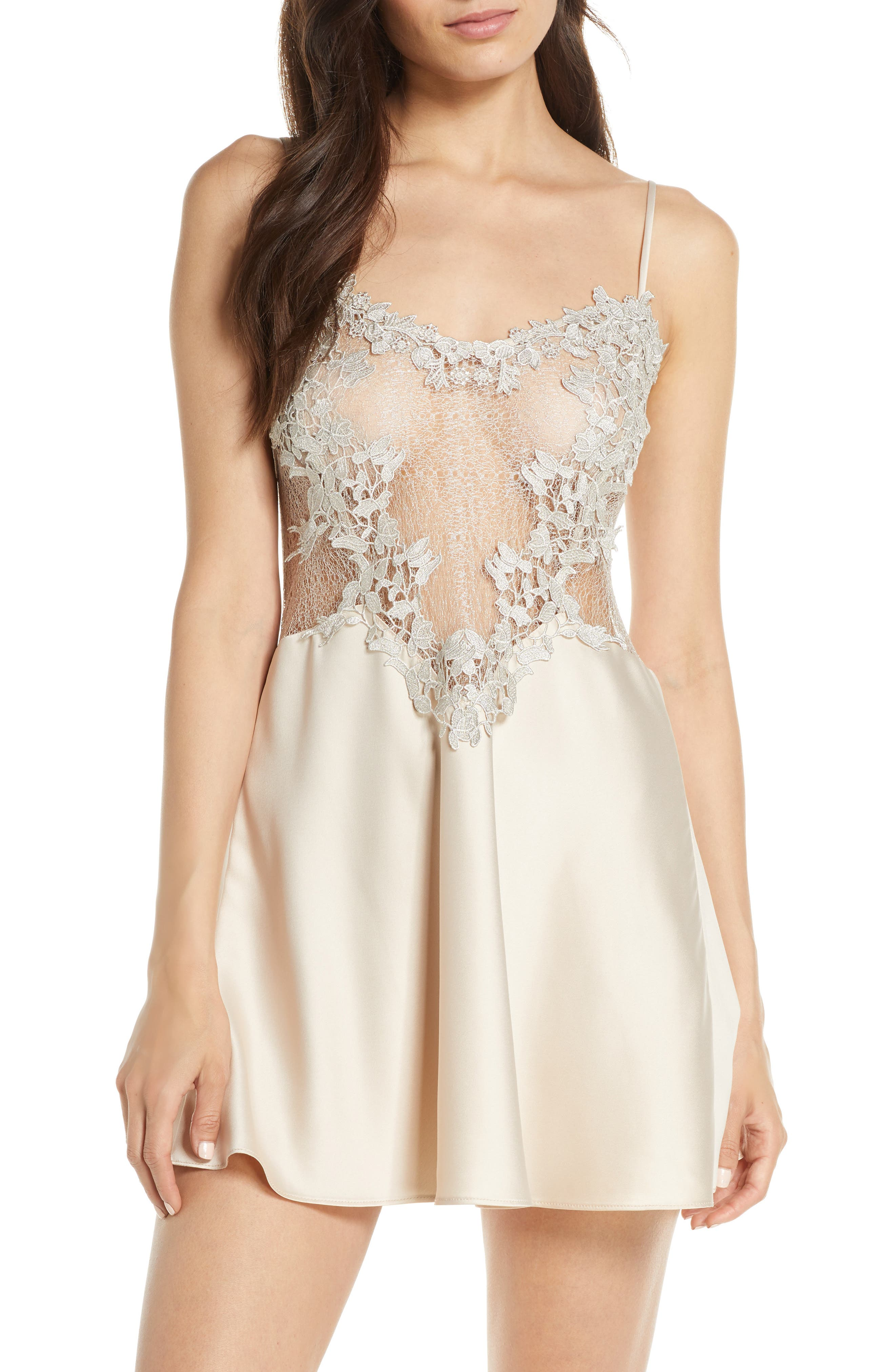 FLORA NIKROOZ, Showstopper Chemise, Main thumbnail 1, color, CHAMPAGNE