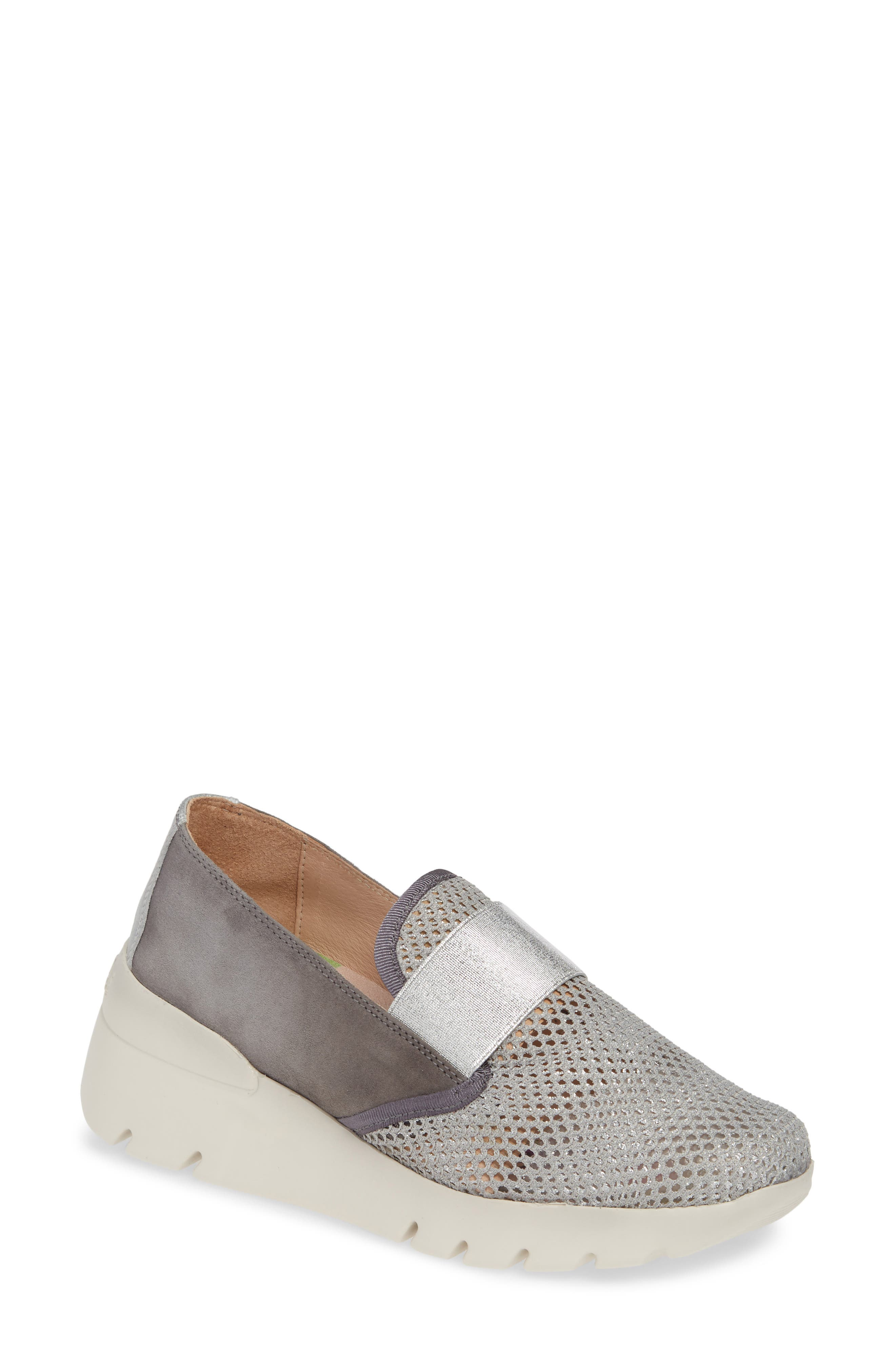 HISPANITAS, Reeva Slip-On Wedge Sneaker, Main thumbnail 1, color, GREY CARBON SUEDE
