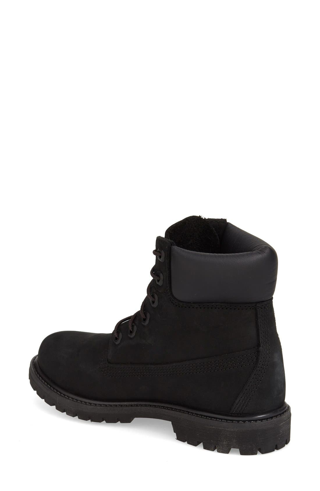 TIMBERLAND, 6 Inch Premium Waterproof Boot, Alternate thumbnail 2, color, BLACK NUBUCK LEATHER