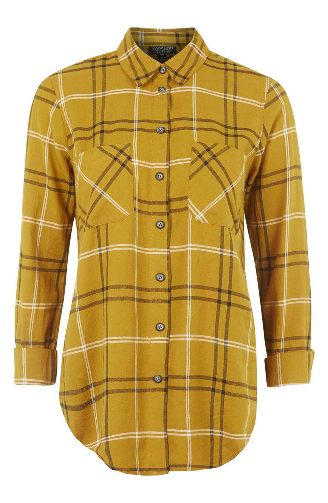 TOPSHOP, 'Billie' Check Button FrontBoyfriend Shirt, Alternate thumbnail 5, color, 701