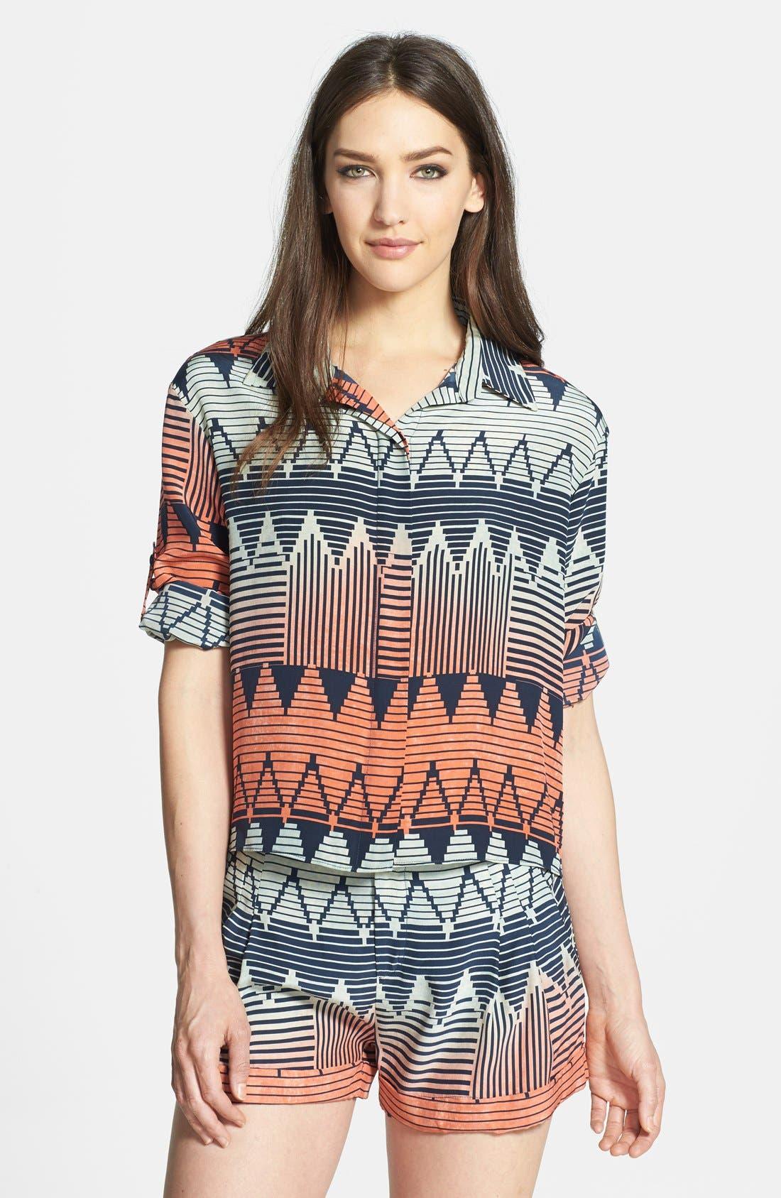 PARKER, 'Hailo' Crop Print Silk Shirt, Main thumbnail 1, color, 400