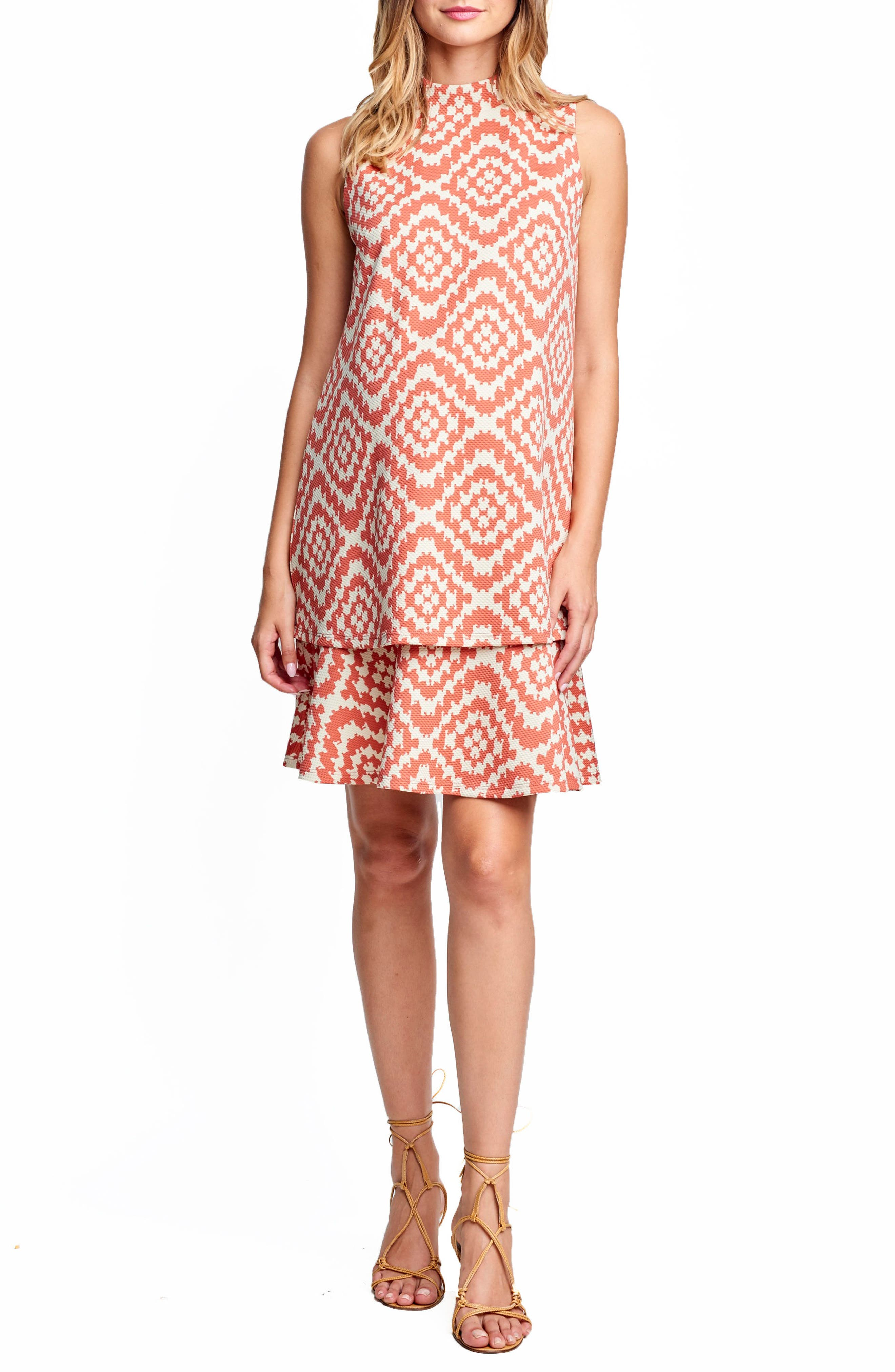 MATERNAL AMERICA 'Lucy' Maternity Dress, Main, color, APRICOT TAPESTRY