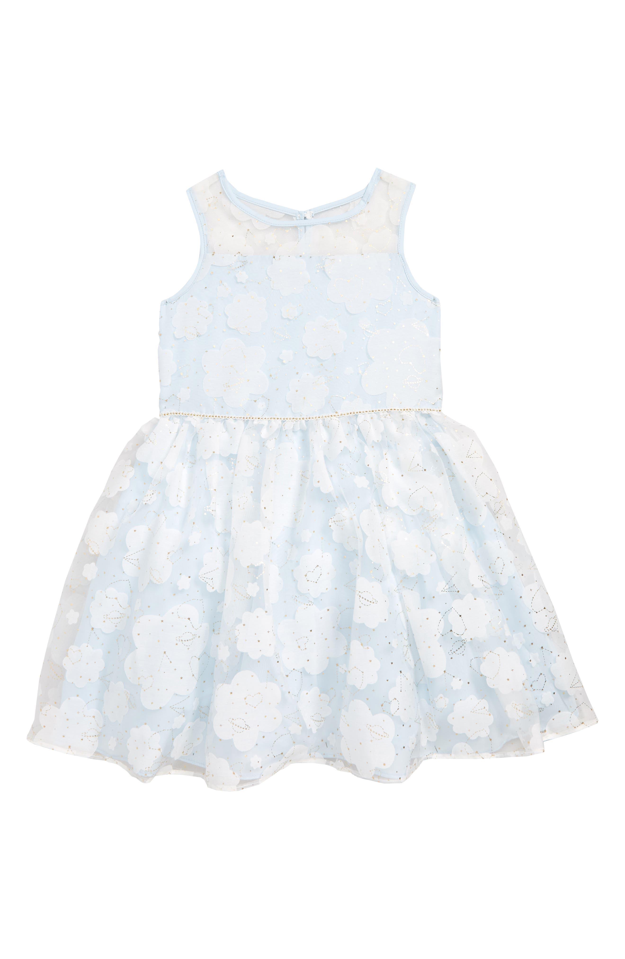 PIPPA & JULIE, Constellation Burnout Dress, Main thumbnail 1, color, WHITE/ GOLD