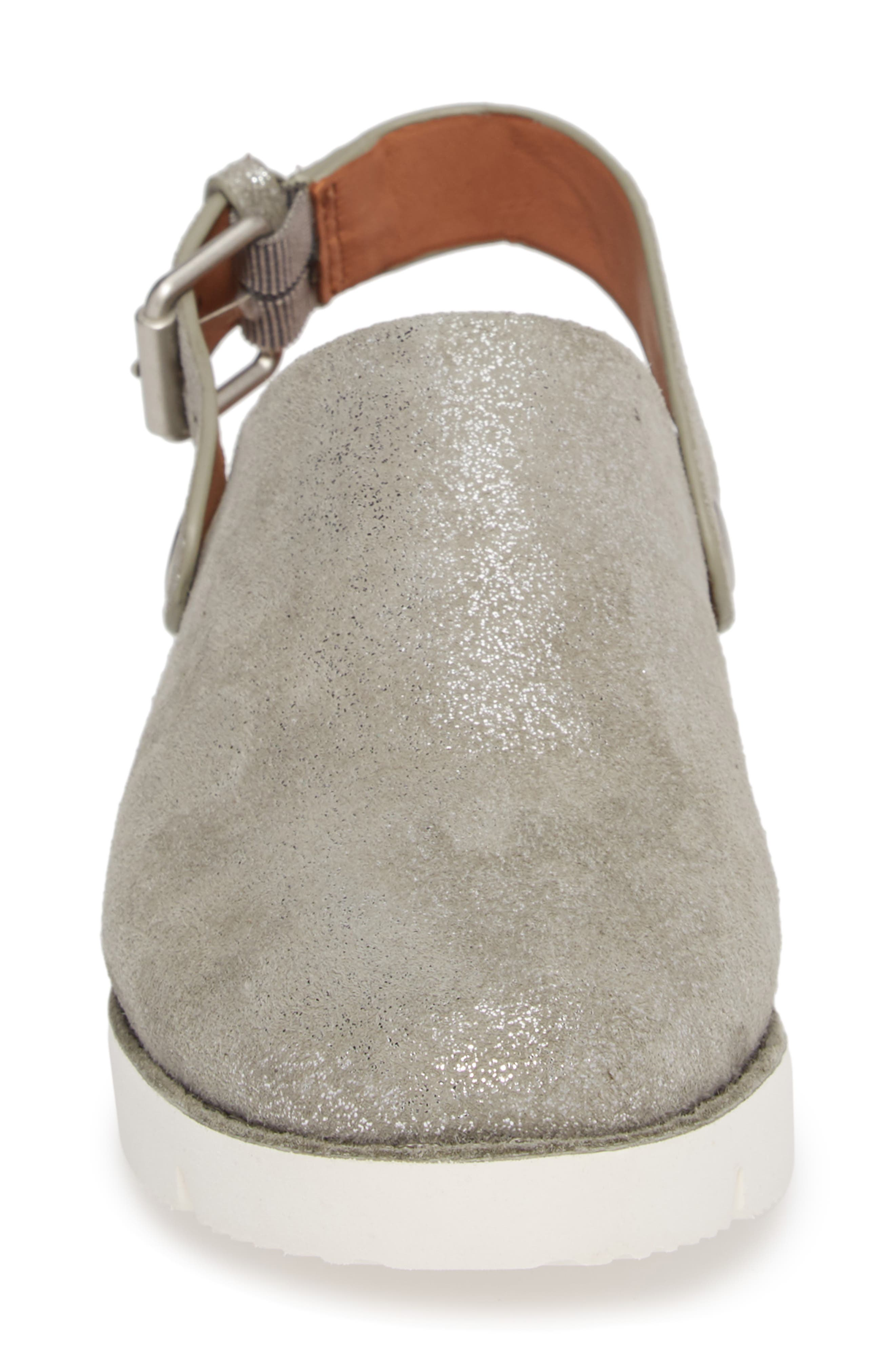 GENTLE SOULS BY KENNETH COLE, Esther Convertible Wedge, Alternate thumbnail 4, color, LIGHT PEWTER METALLIC LEATHER