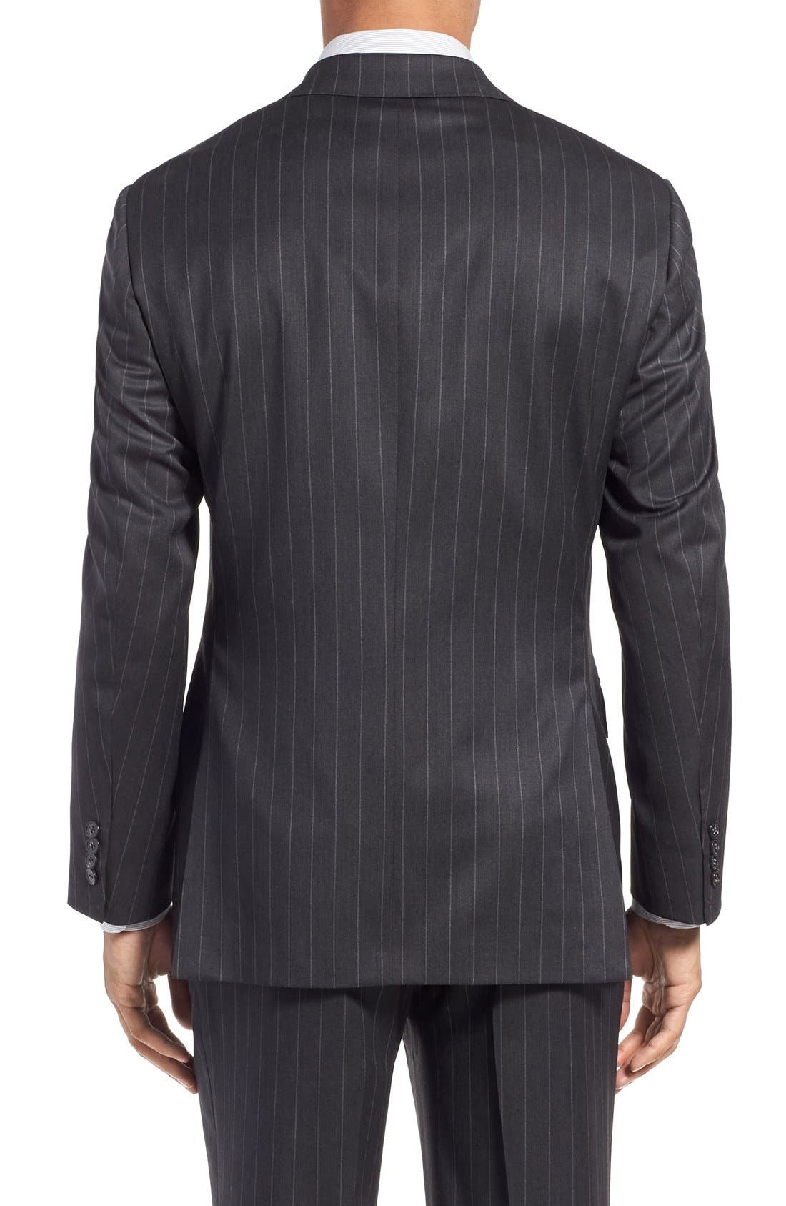 SAMUELSOHN, Classic Fit Stripe Wool Suit, Alternate thumbnail 6, color, 025