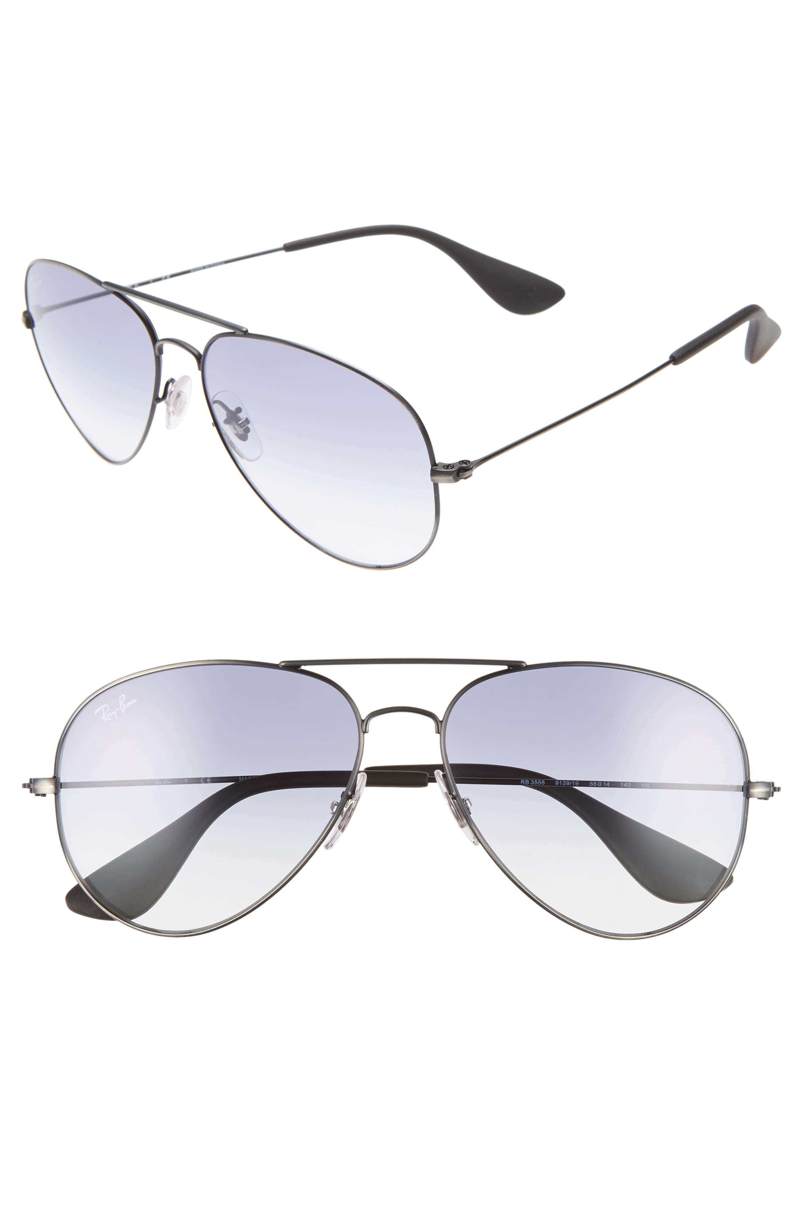 Ray-Ban 5m Gradient Aviator Sunglasses - Silver/ Light Blue Gradient