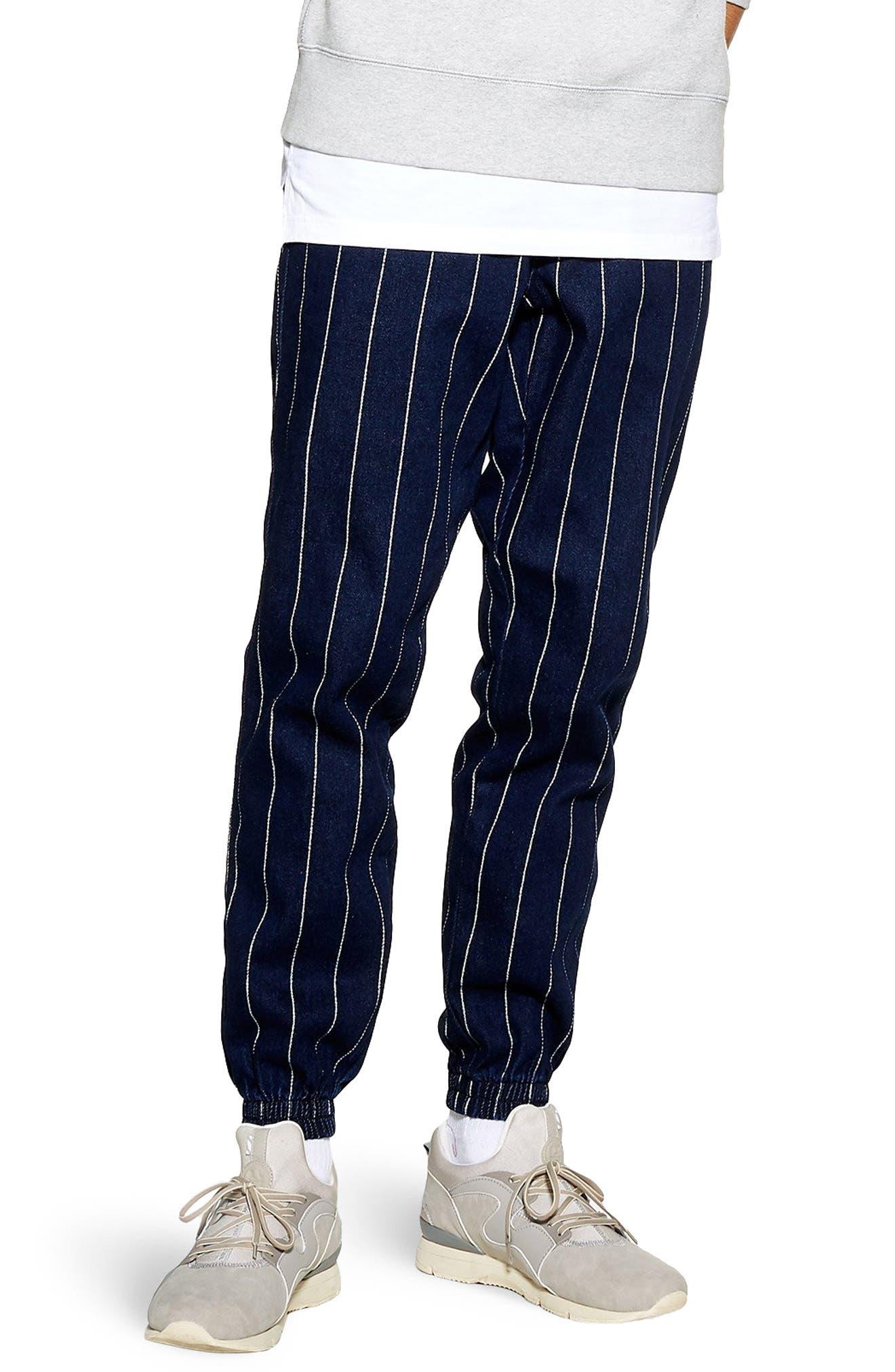TOPMAN, Stripe Jogger Pants, Main thumbnail 1, color, DARK BLUE