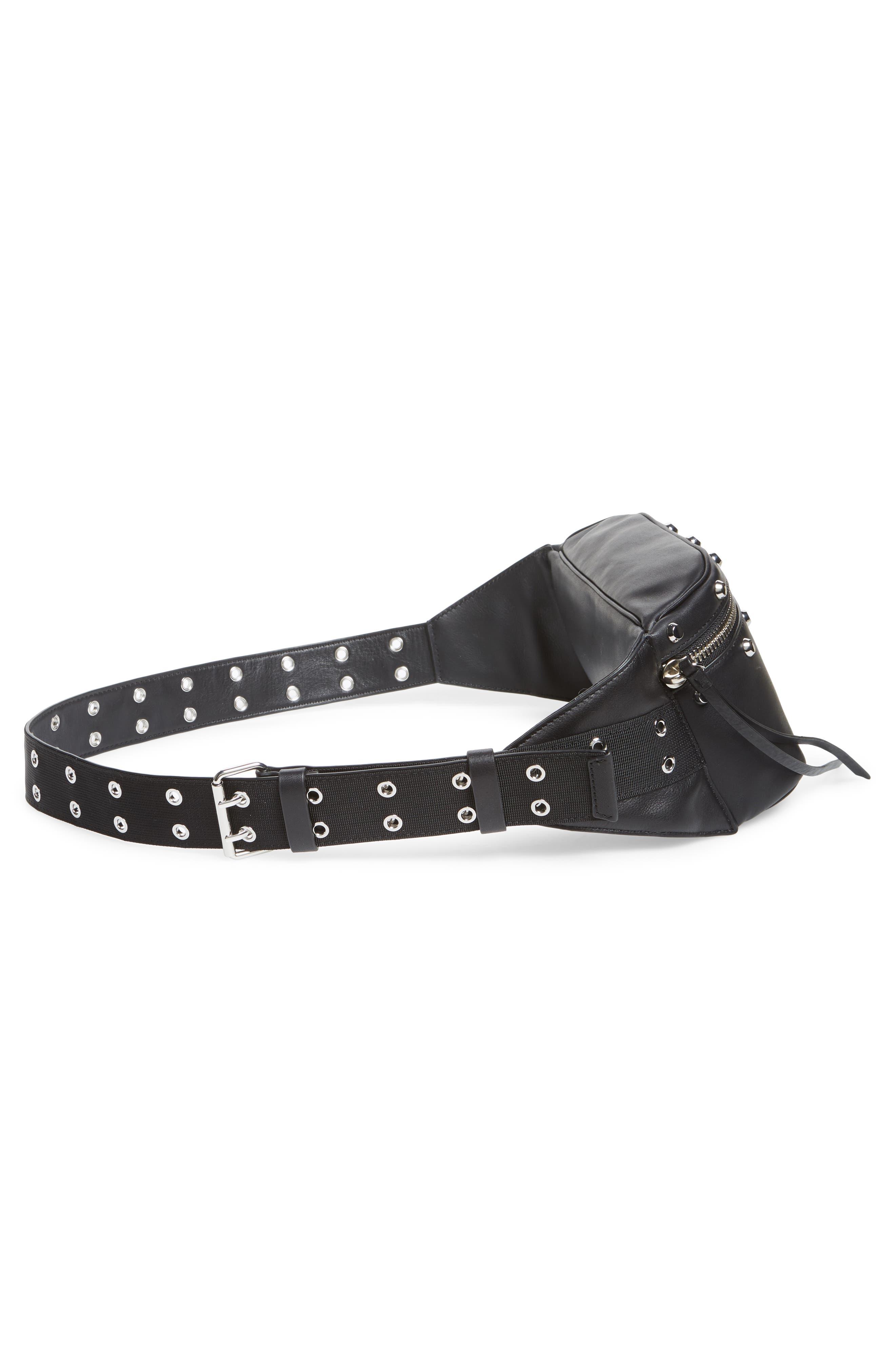 ALLSAINTS, Studded Leather Belt Bag, Alternate thumbnail 7, color, 001