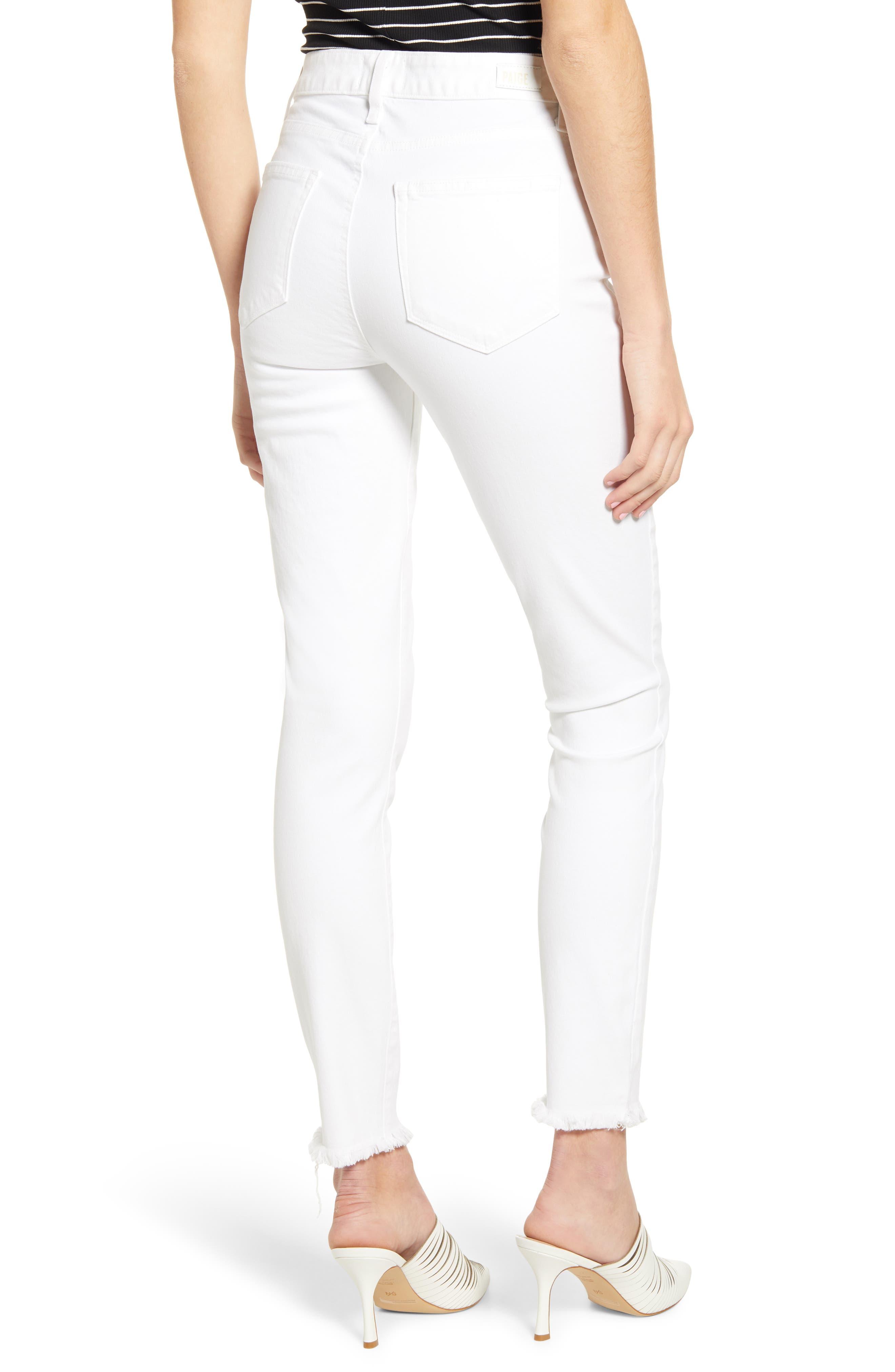 PAIGE, Hoxton High Waist Ankle Skinny Jeans, Alternate thumbnail 2, color, CRISP WHITE