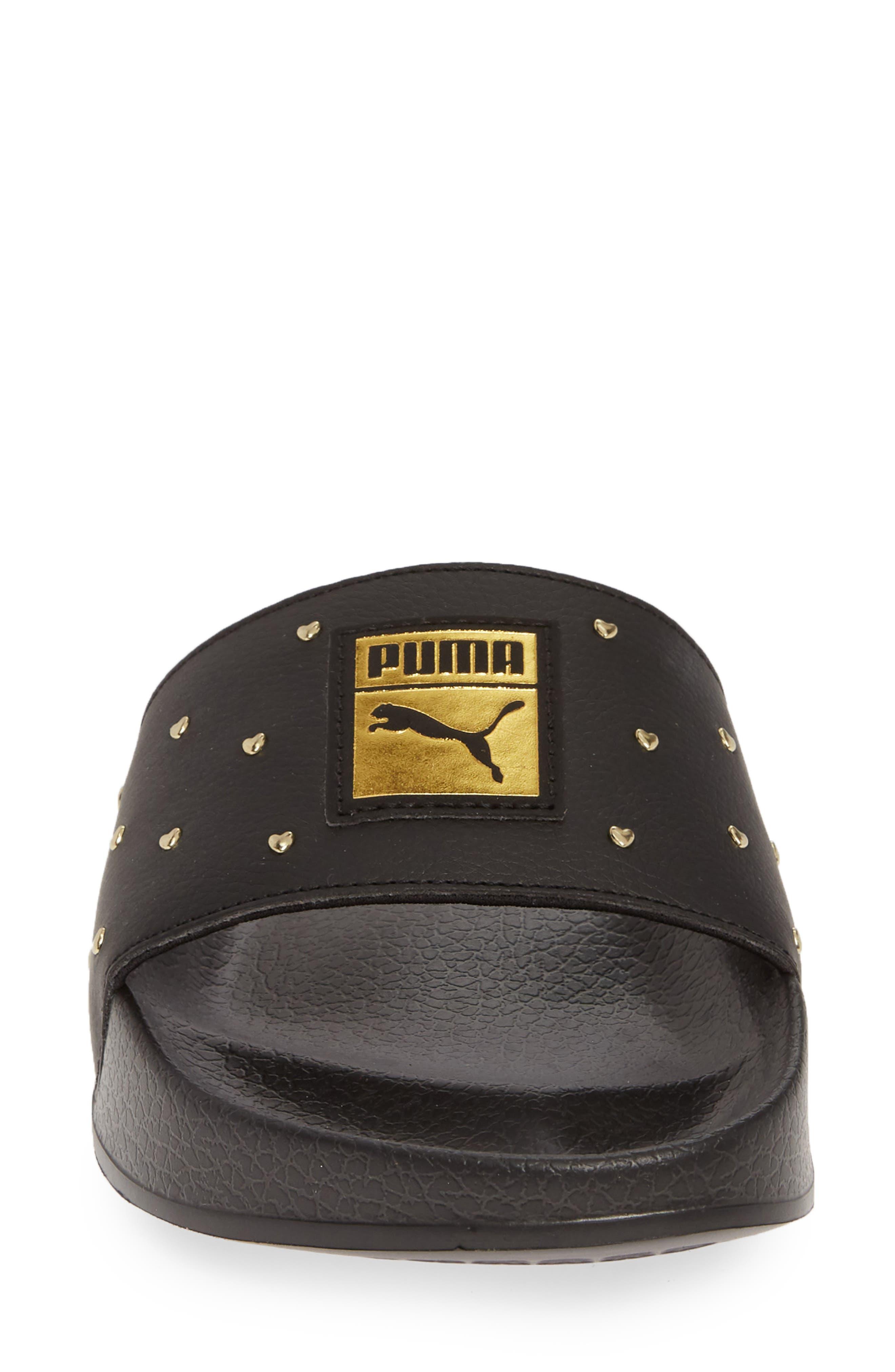 PUMA, Leadcat Studs Sport Slide, Alternate thumbnail 4, color, BLACK/ TEAM GOLD