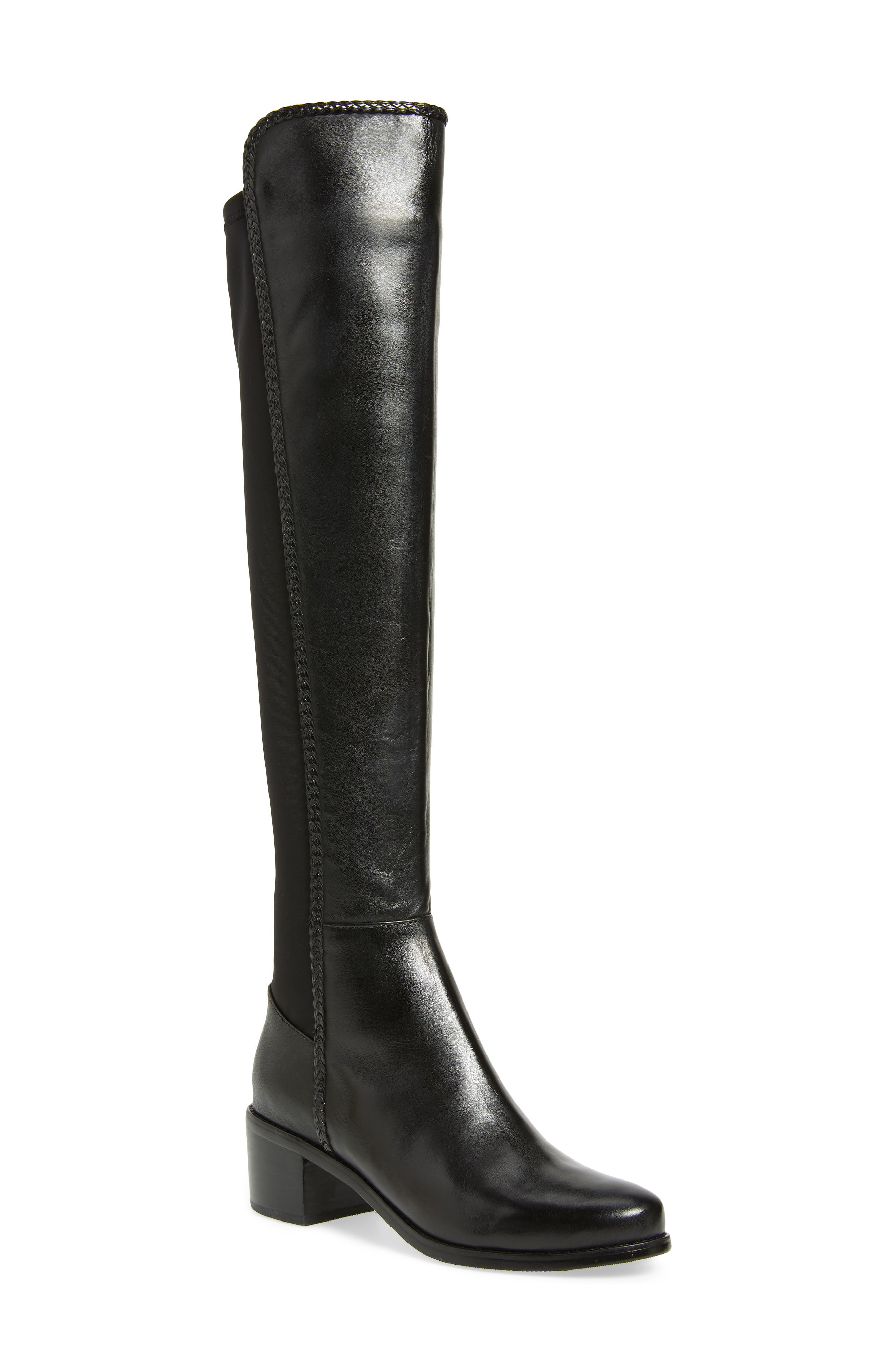 AQUADIVA, Florence Waterproof Over the Knee Boot, Main thumbnail 1, color, BLACK LEATHER