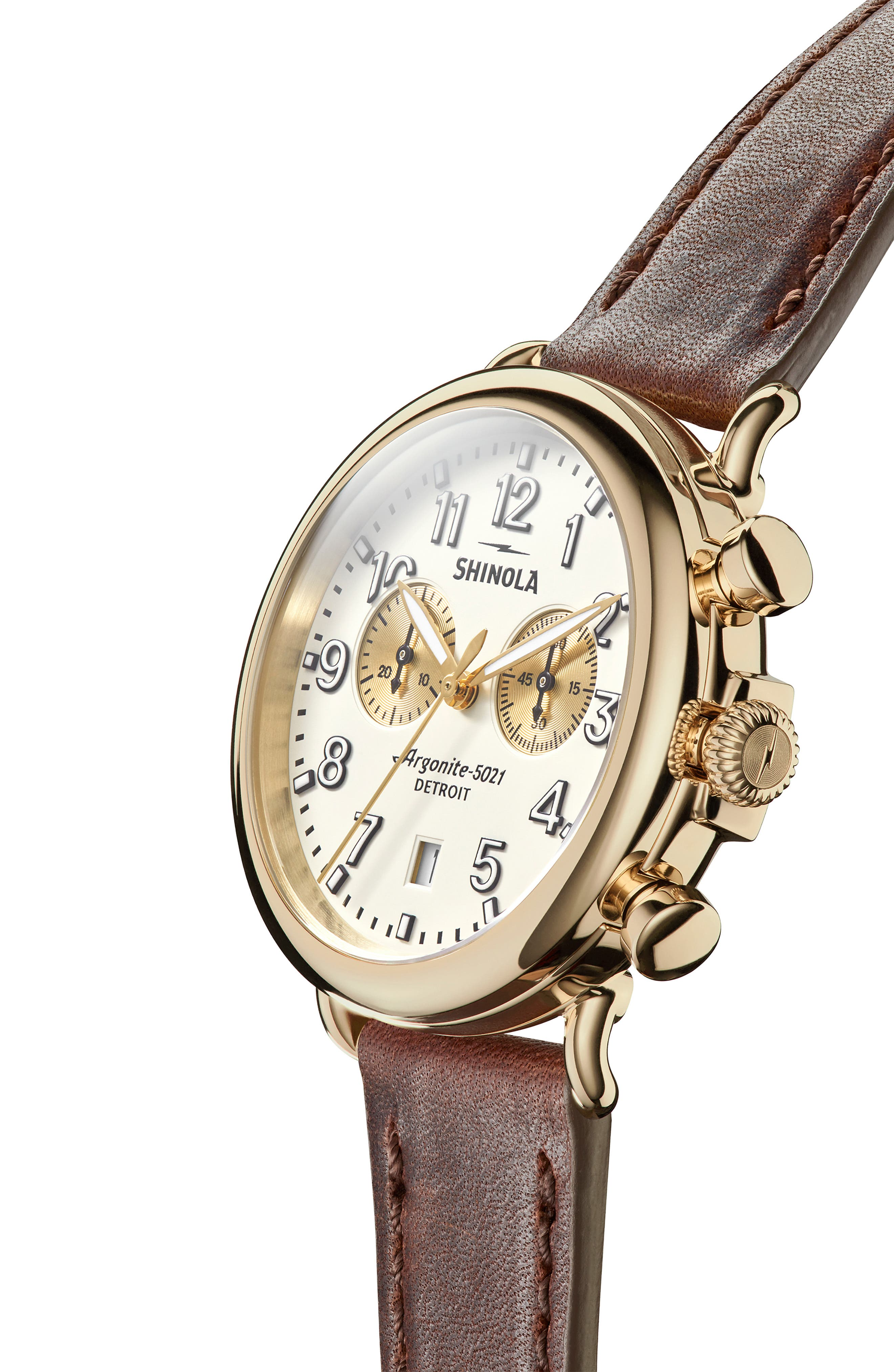 SHINOLA, 'The Runwell Chrono' Leather Strap Watch, 41mm, Alternate thumbnail 7, color, BROWN CATTAIL/ IVORY/ GOLD