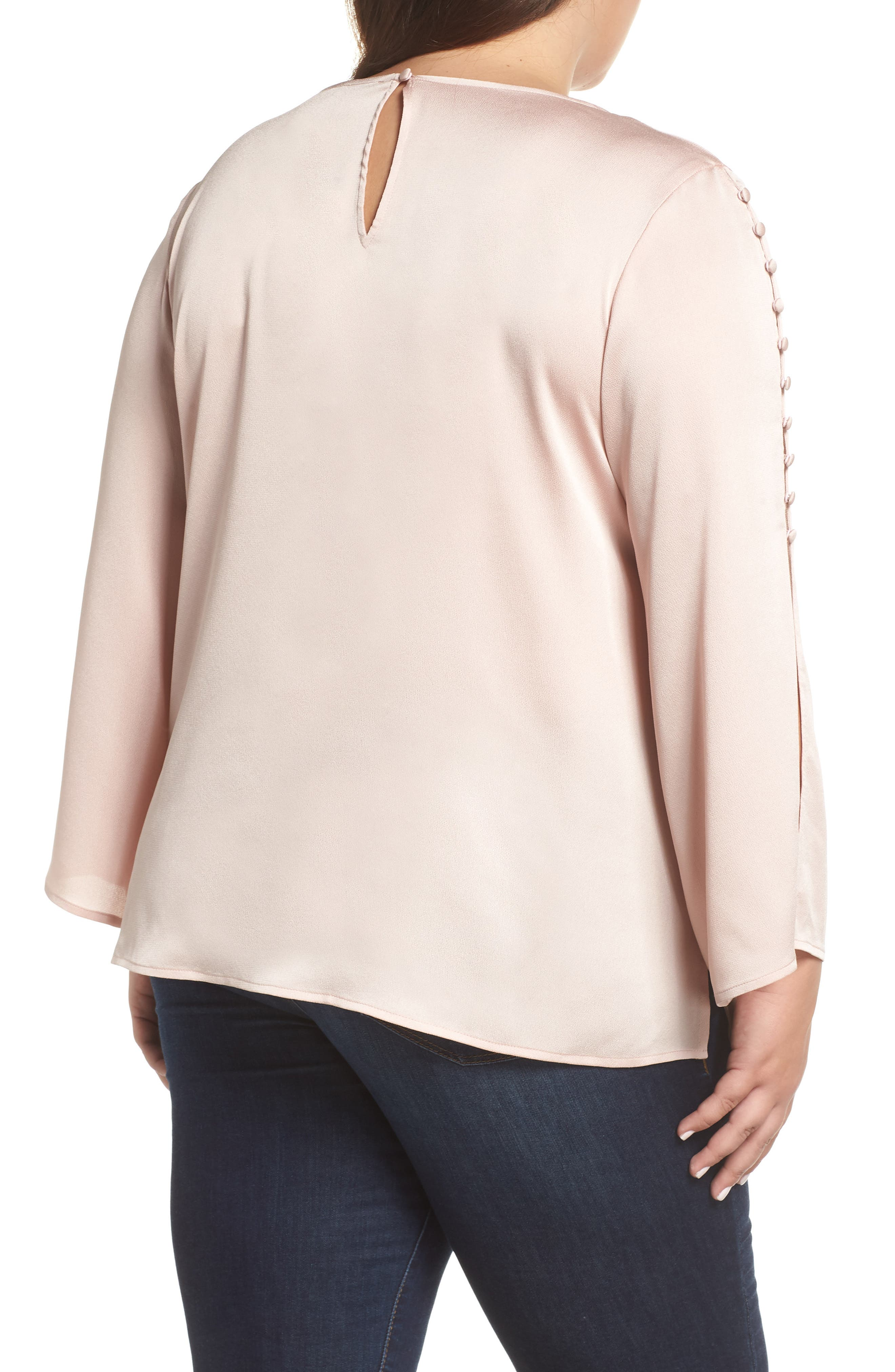 VINCE CAMUTO, Button Bell Sleeve Blouse, Alternate thumbnail 2, color, ROSE BUFF