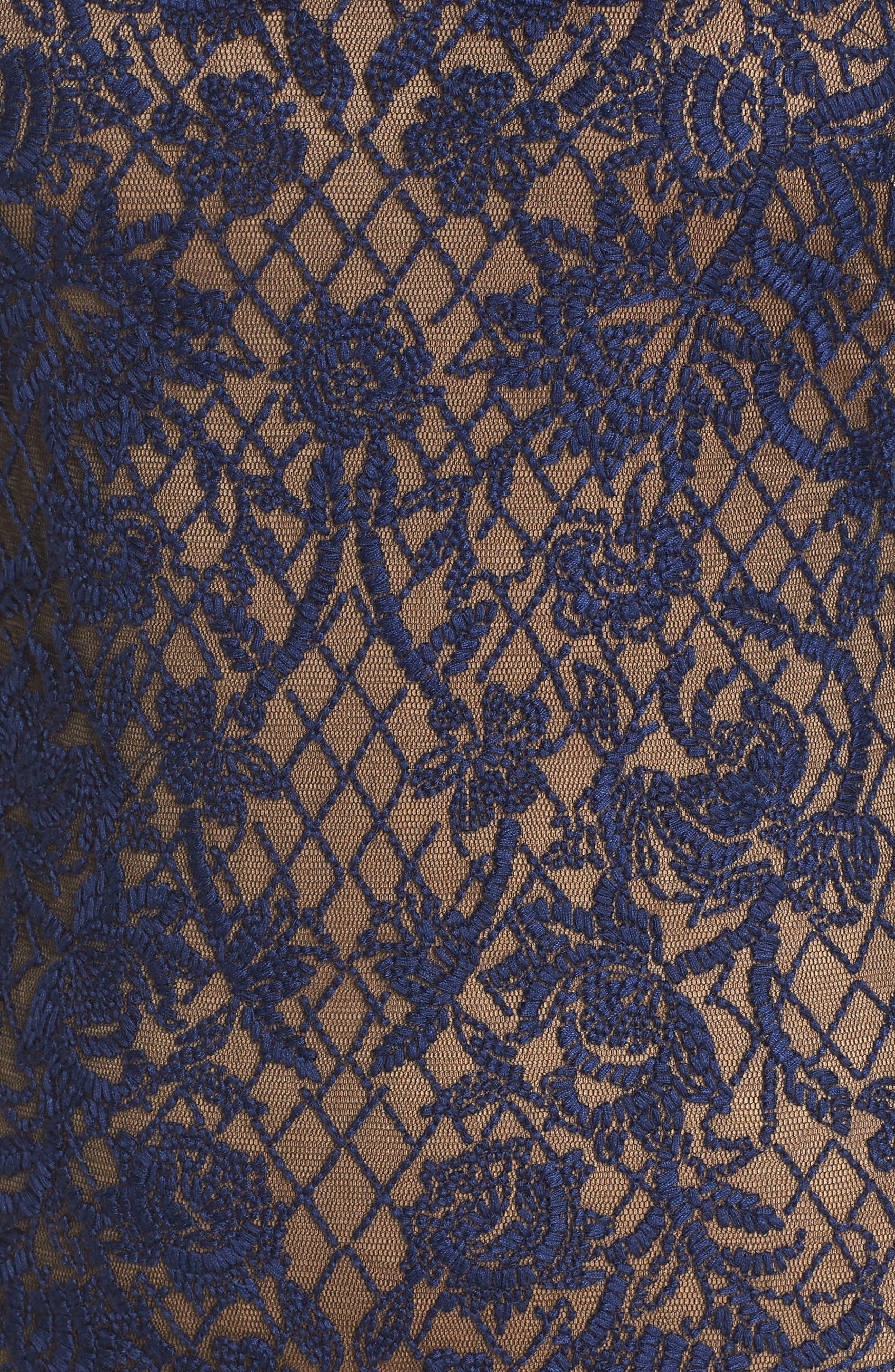 TADASHI SHOJI, Embroidered Mesh & Fringe Gown, Alternate thumbnail 5, color, MIDNIGHT/ NUDE