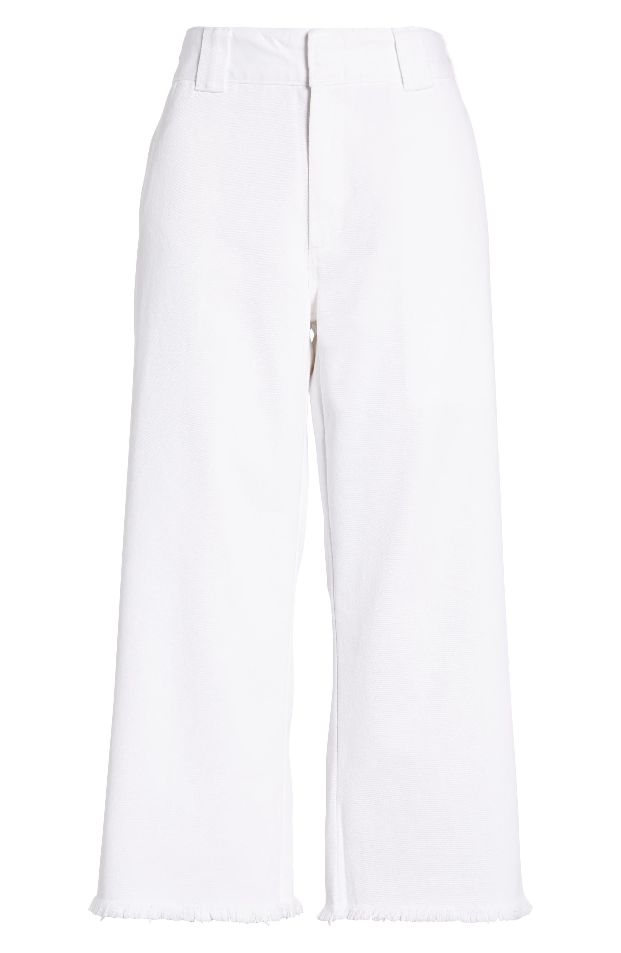 DICKIES, Fray Hem Crop Work Pants, Alternate thumbnail 7, color, WHITE