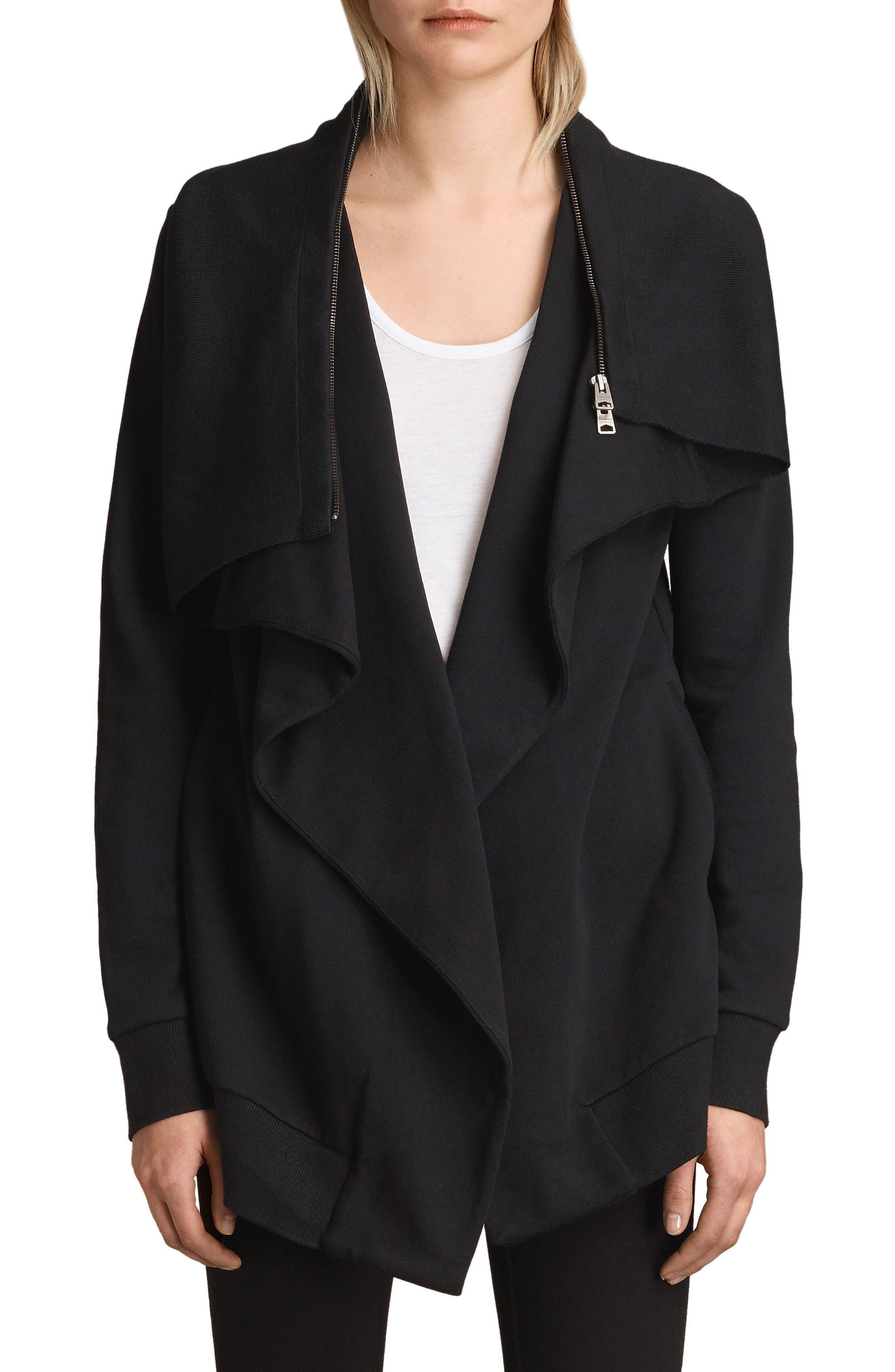 ALLSAINTS, Dahlia Sweatshirt, Main thumbnail 1, color, BLACK