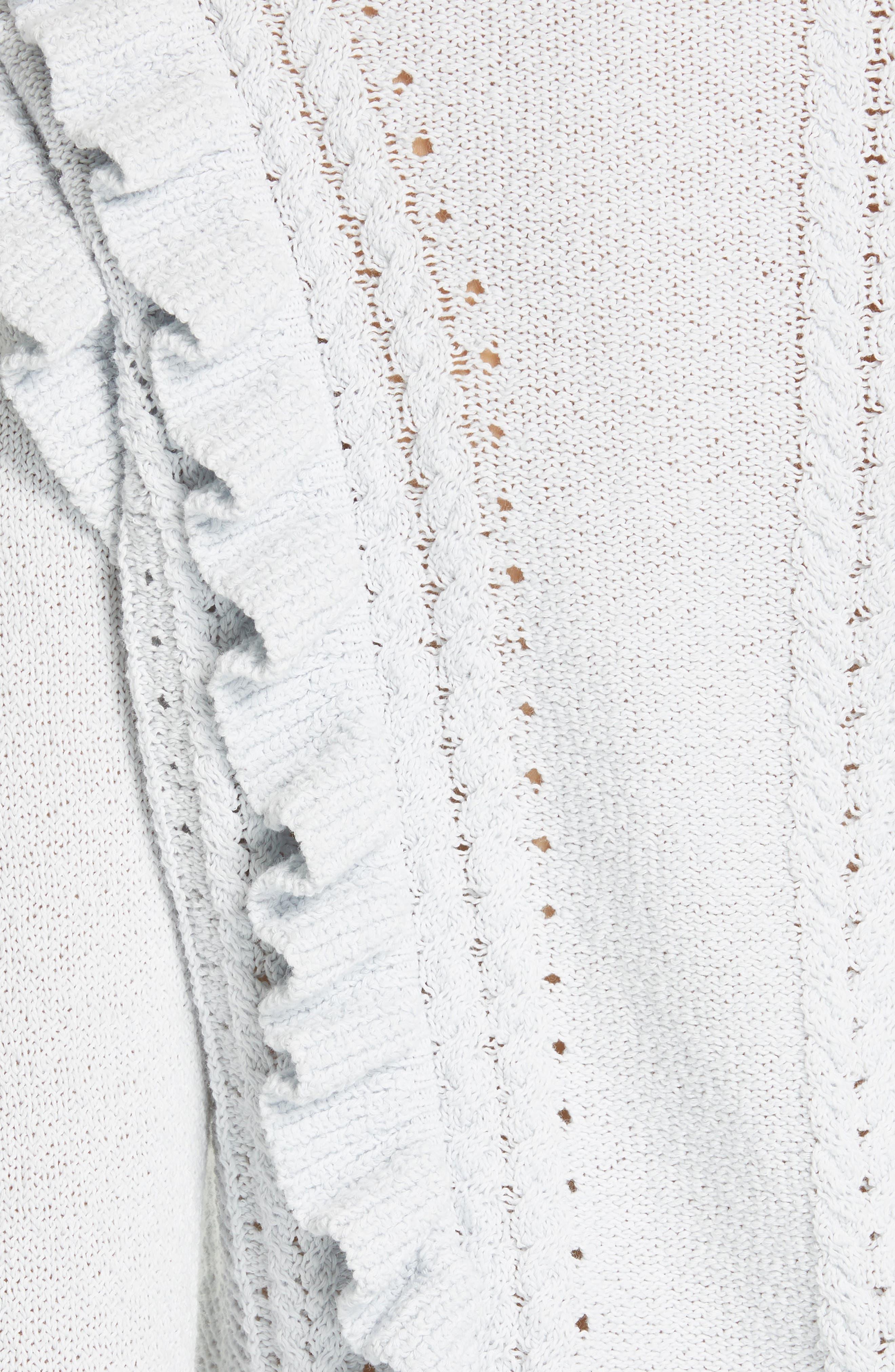REBECCA TAYLOR, Ruffled Sweater, Alternate thumbnail 5, color, LIGHT MINT
