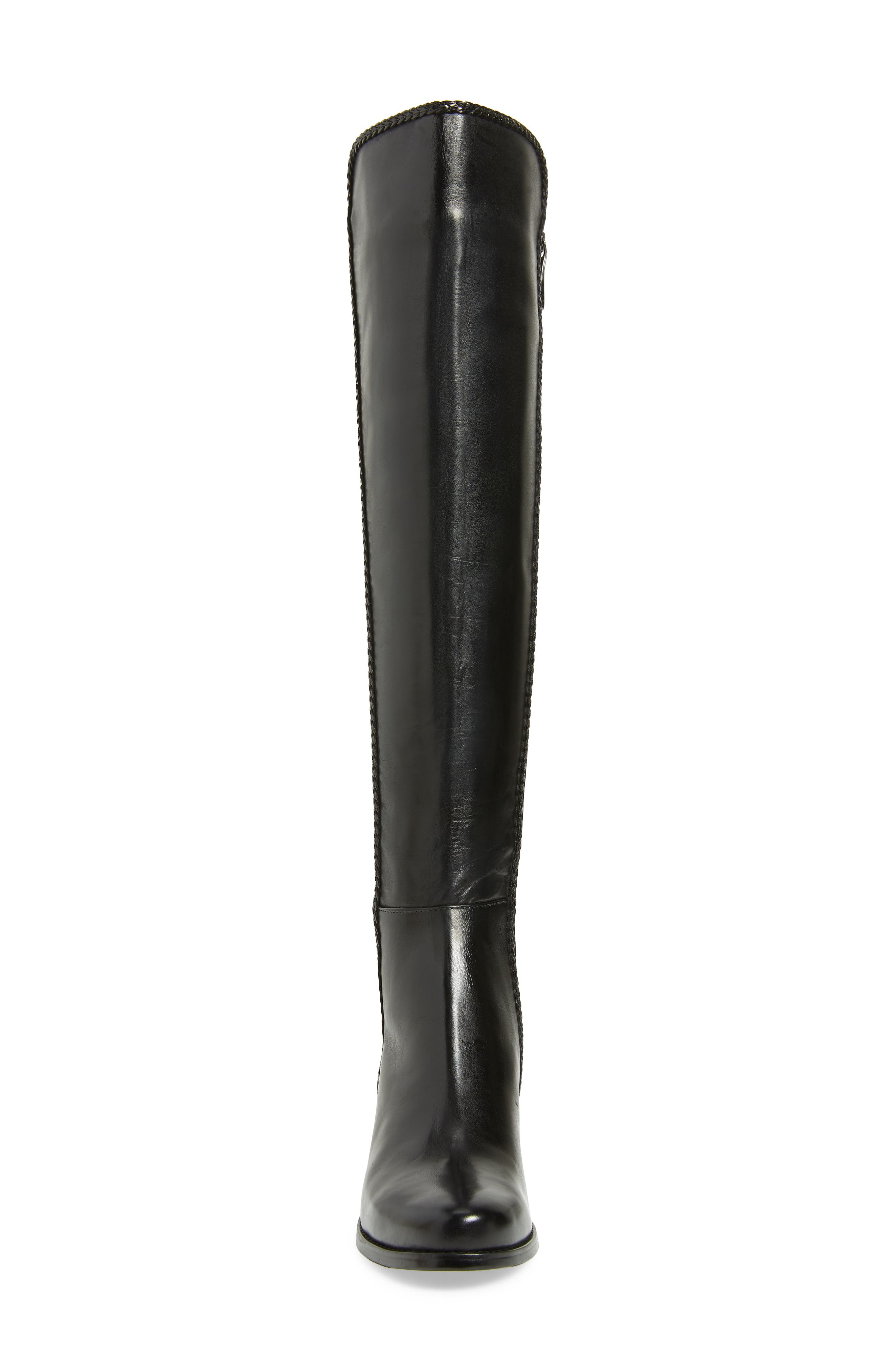 AQUADIVA, Florence Waterproof Over the Knee Boot, Alternate thumbnail 4, color, BLACK LEATHER