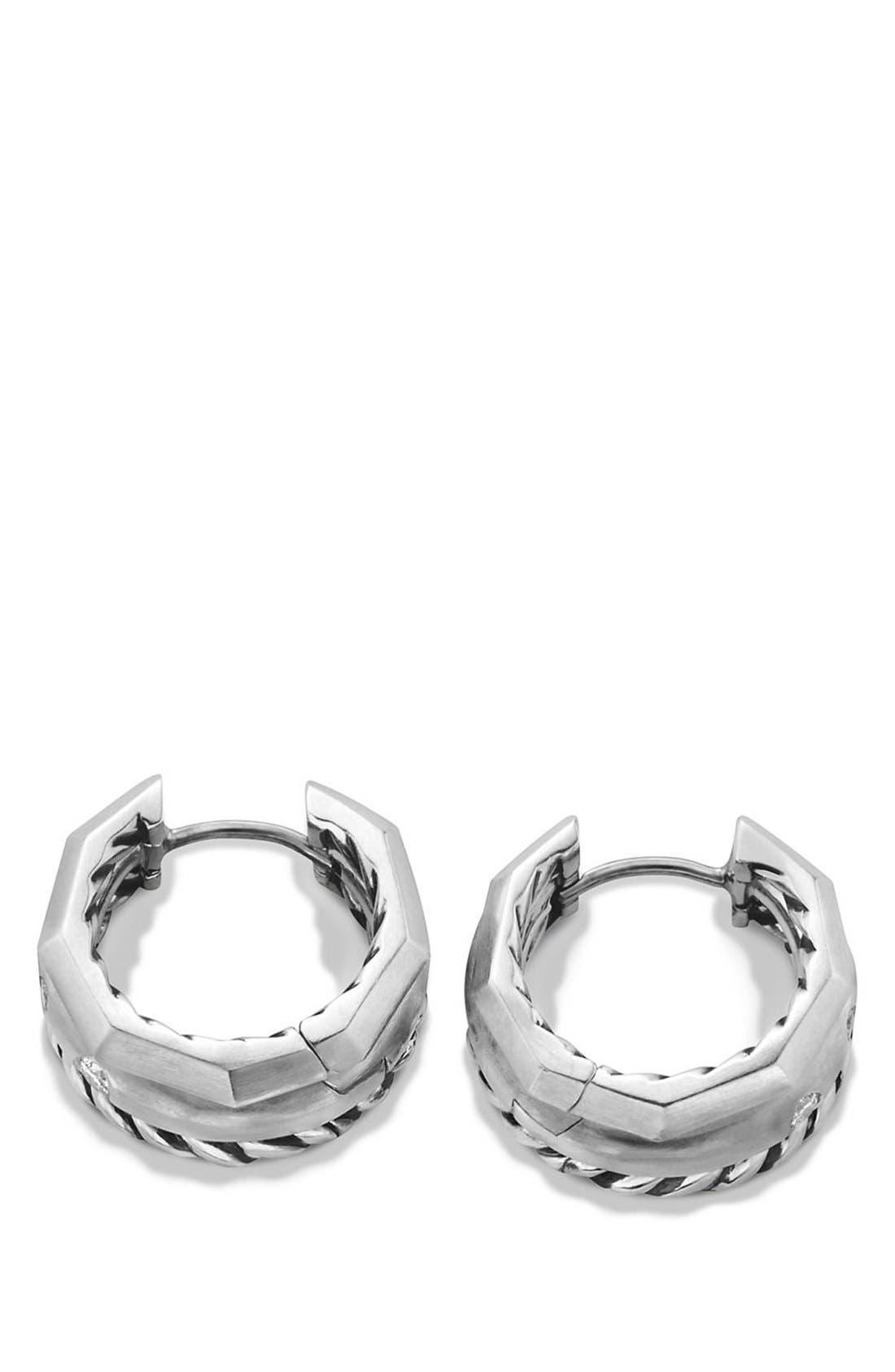 DAVID YURMAN, 'Stax' Diamond Huggie Hoop Earrings, Alternate thumbnail 3, color, SILVER
