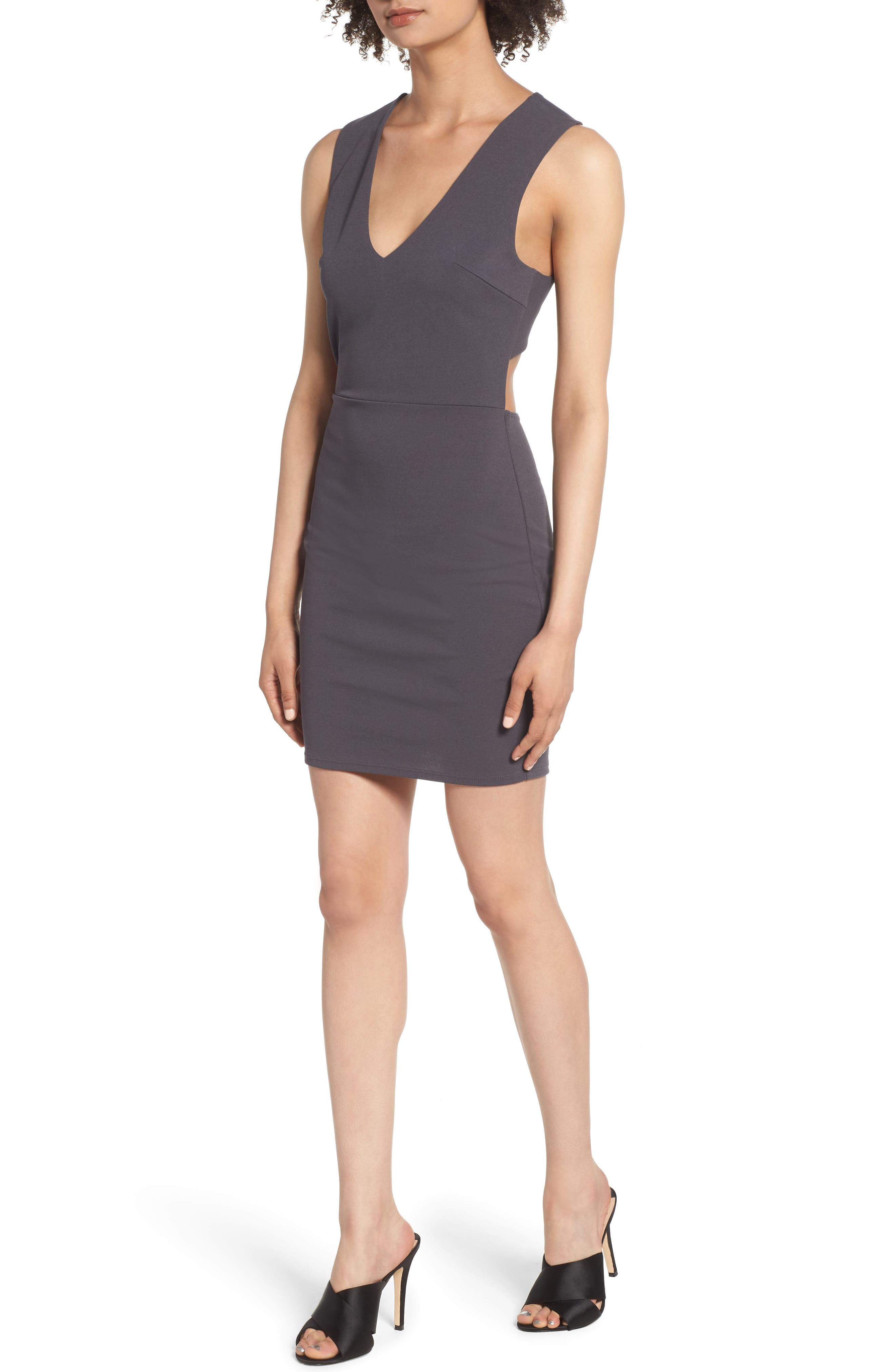 SOPRANO, Crossback Body-Con Dress, Main thumbnail 1, color, 020