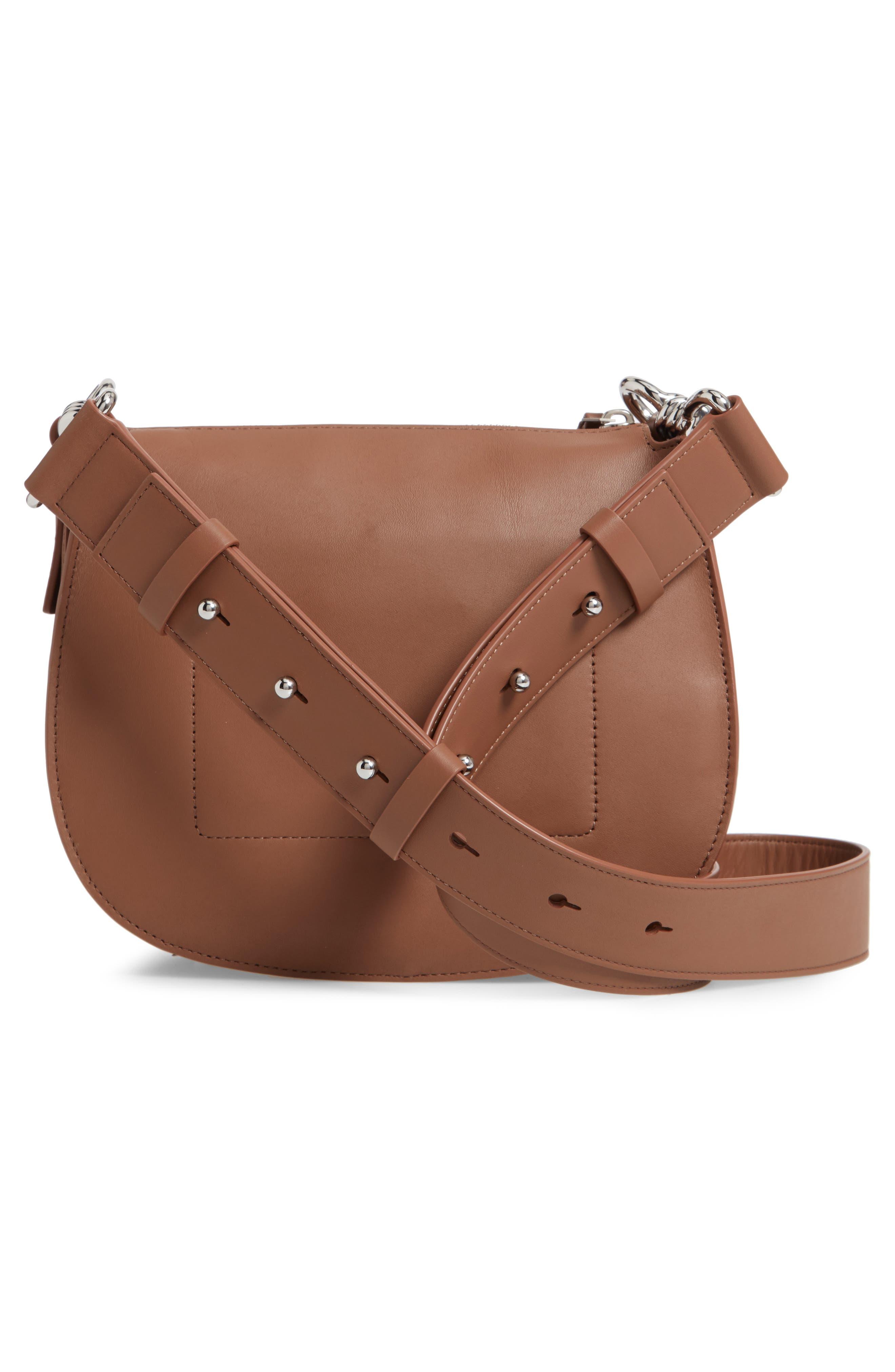 ALLSAINTS, Captain Round Leather Crossbody Bag, Alternate thumbnail 3, color, MILK CHOCOLATE
