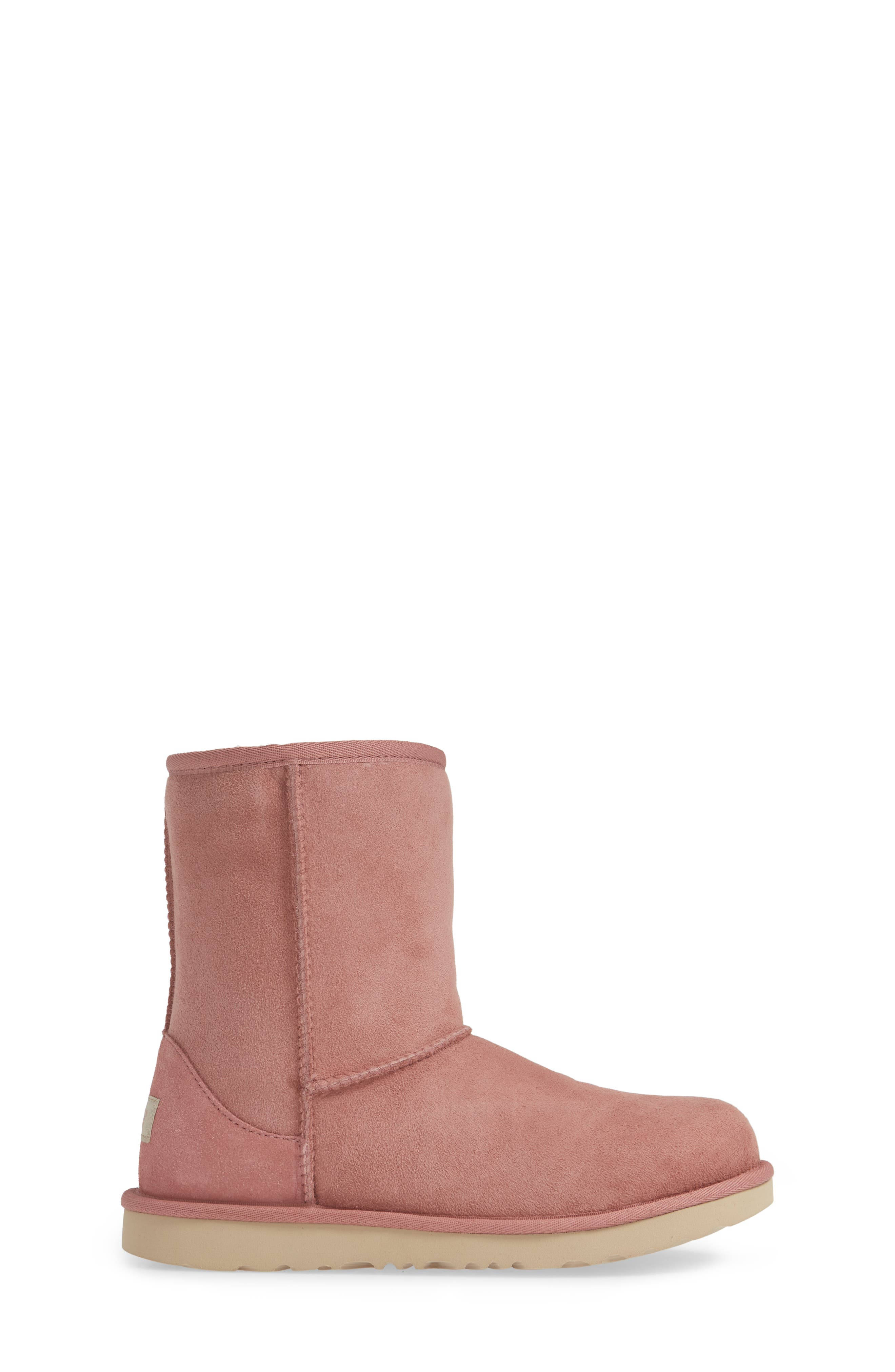 UGG<SUP>®</SUP>, Classic Short II Water Resistant Genuine Shearling Boot, Alternate thumbnail 3, color, PINK DAWN