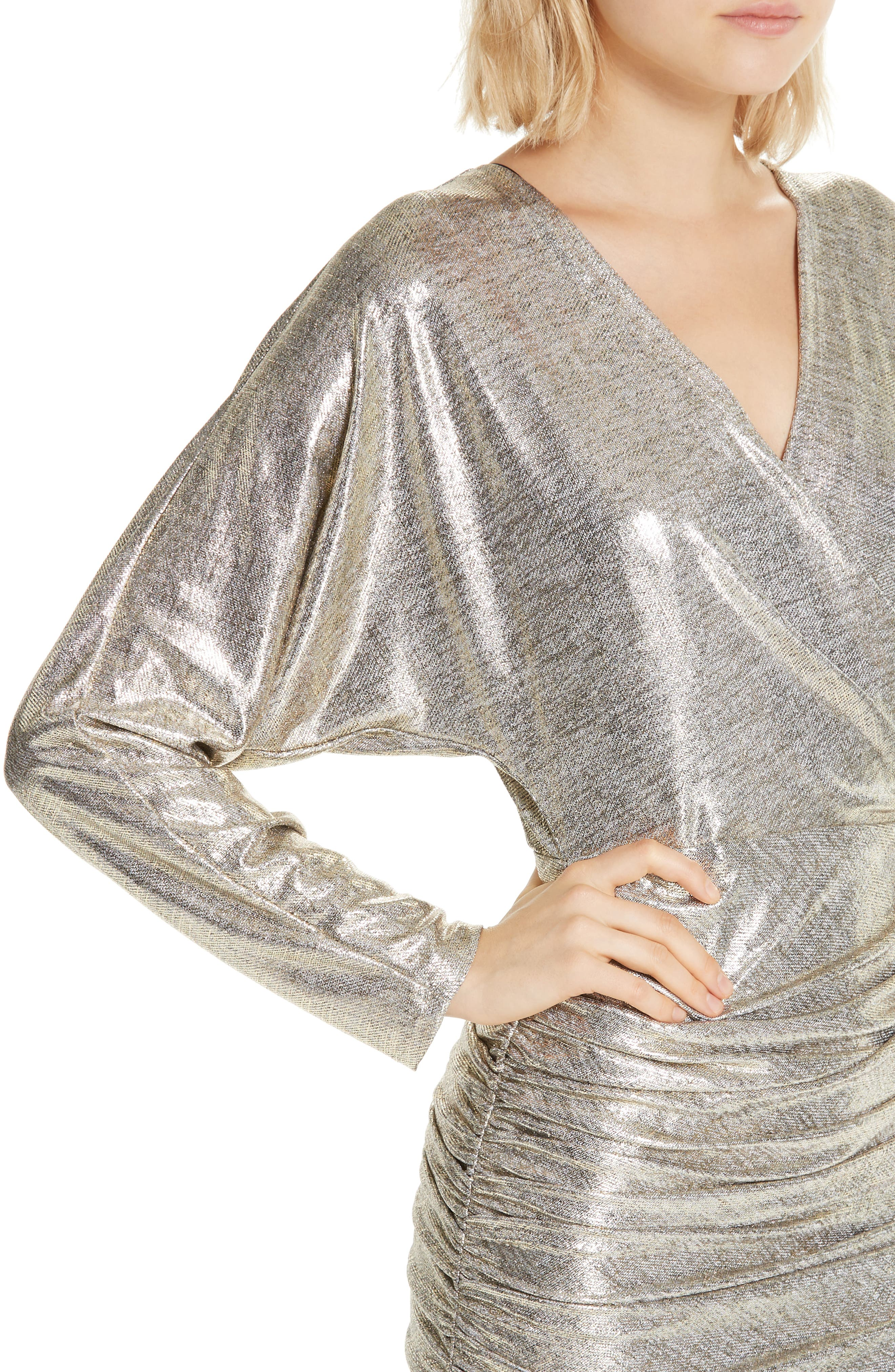 ALICE + OLIVIA, Pace Batwing Sleeve Party Dress, Alternate thumbnail 5, color, SILVER