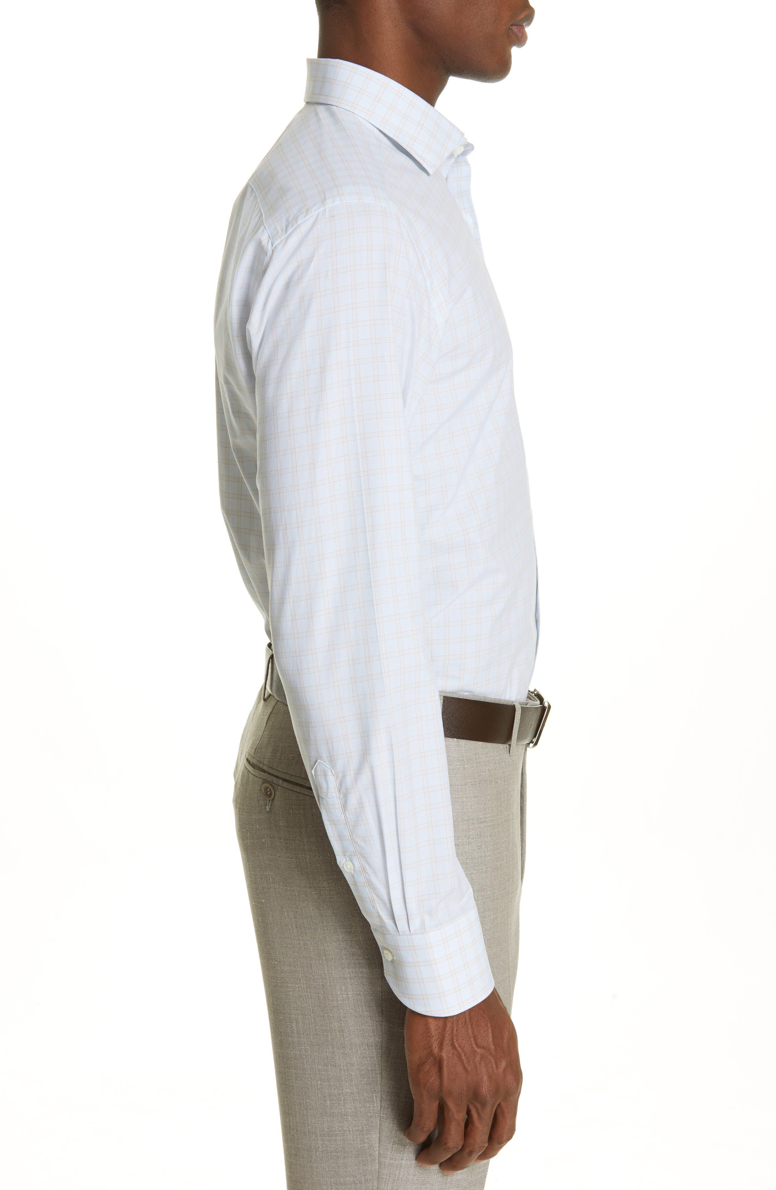 CANALI, Regular Fit Plaid Dress Shirt, Alternate thumbnail 4, color, BEIGE