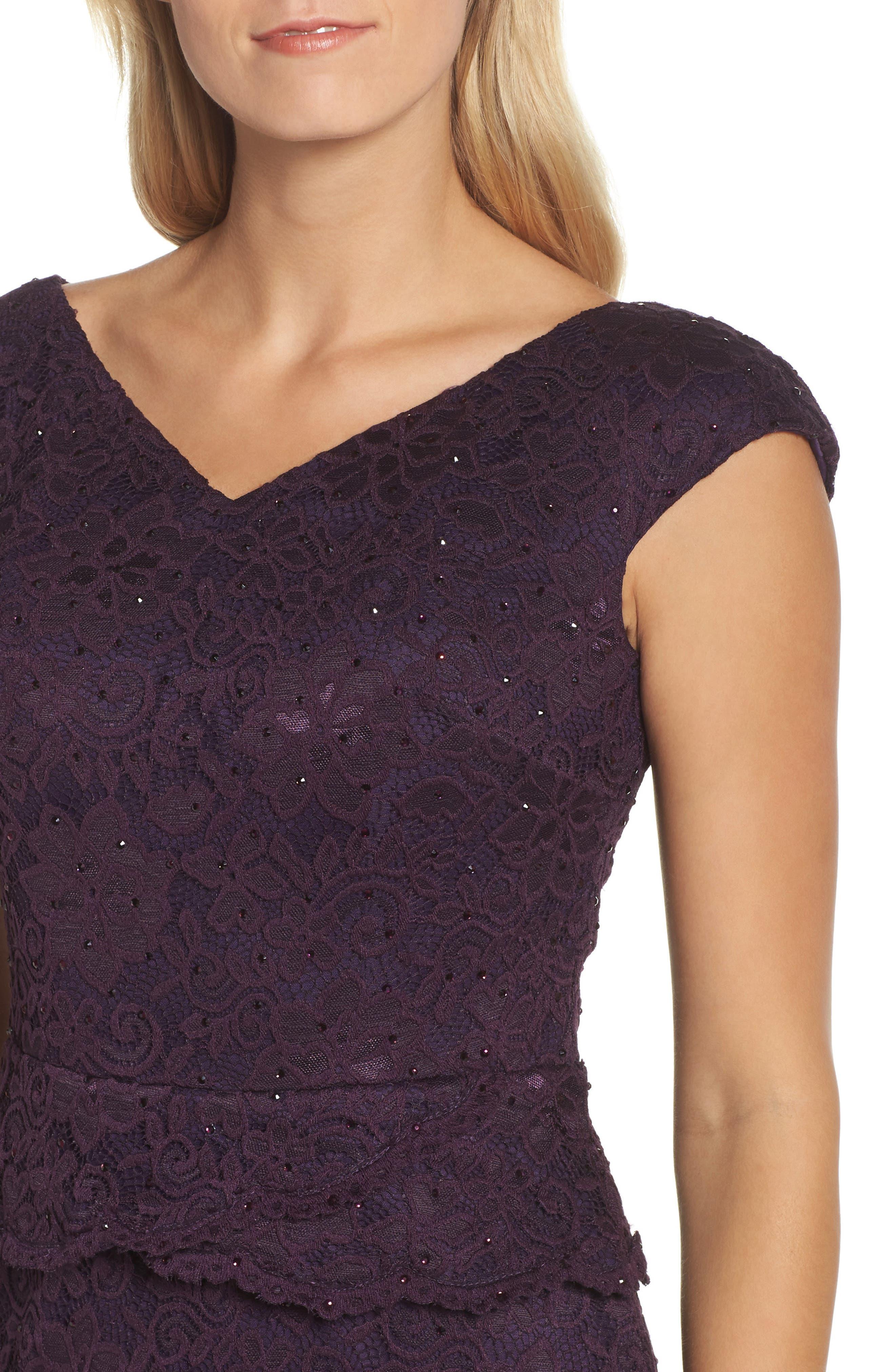 LA FEMME, Embellished Lace Sheath Dress, Alternate thumbnail 4, color, 501
