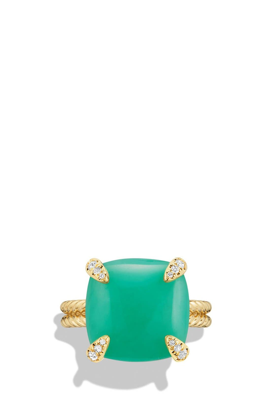 DAVID YURMAN, 'Chatelaine' Ring with Diamonds, Alternate thumbnail 4, color, CHRYSOPRASE