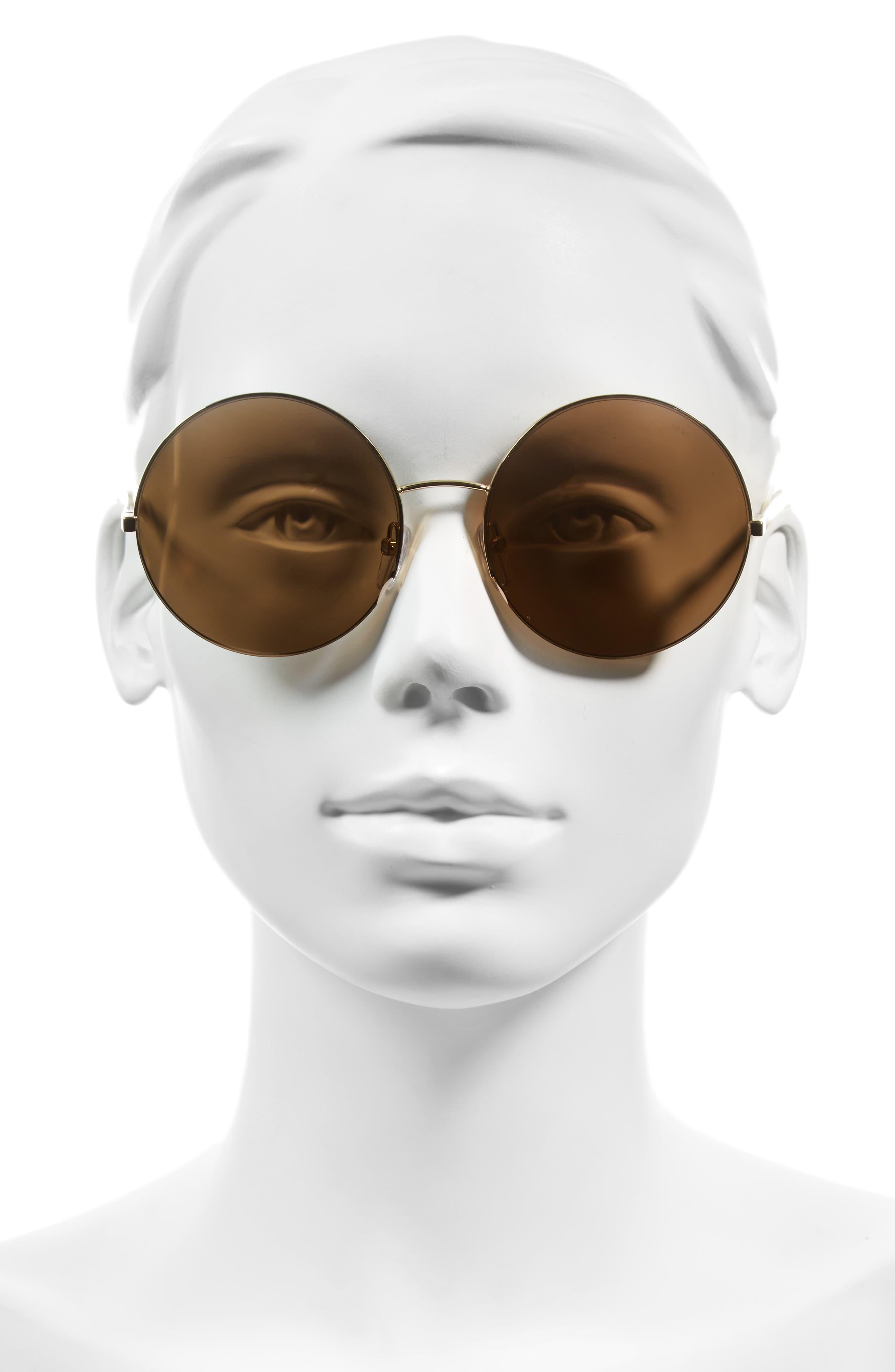 VICTORIA BECKHAM, 56mm Round Sunglasses, Alternate thumbnail 3, color, GOLD METALLIC/ GOLD MIRROR