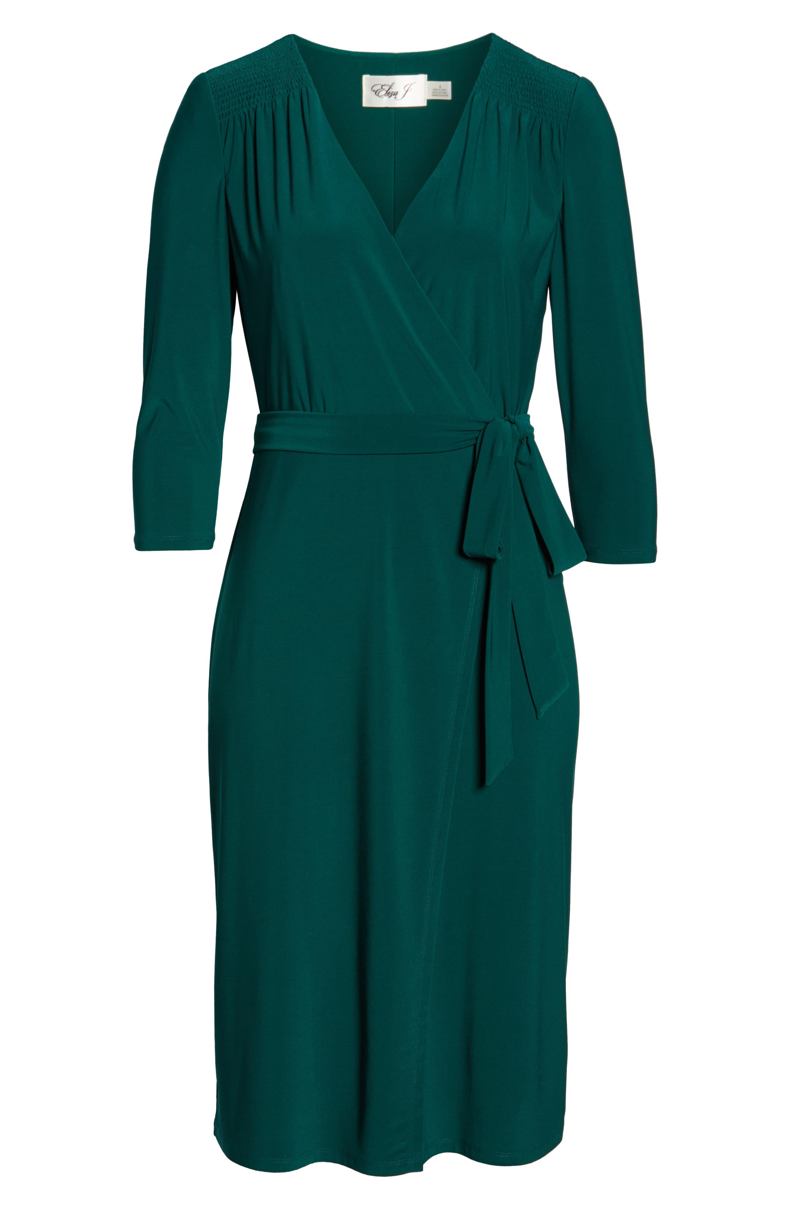 ELIZA J, Smocked Shoulder Wrap Dress, Alternate thumbnail 7, color, 376