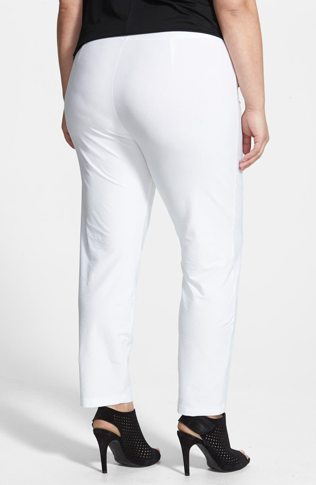 EILEEN FISHER, Crepe Ankle Pants, Alternate thumbnail 2, color, WHITE