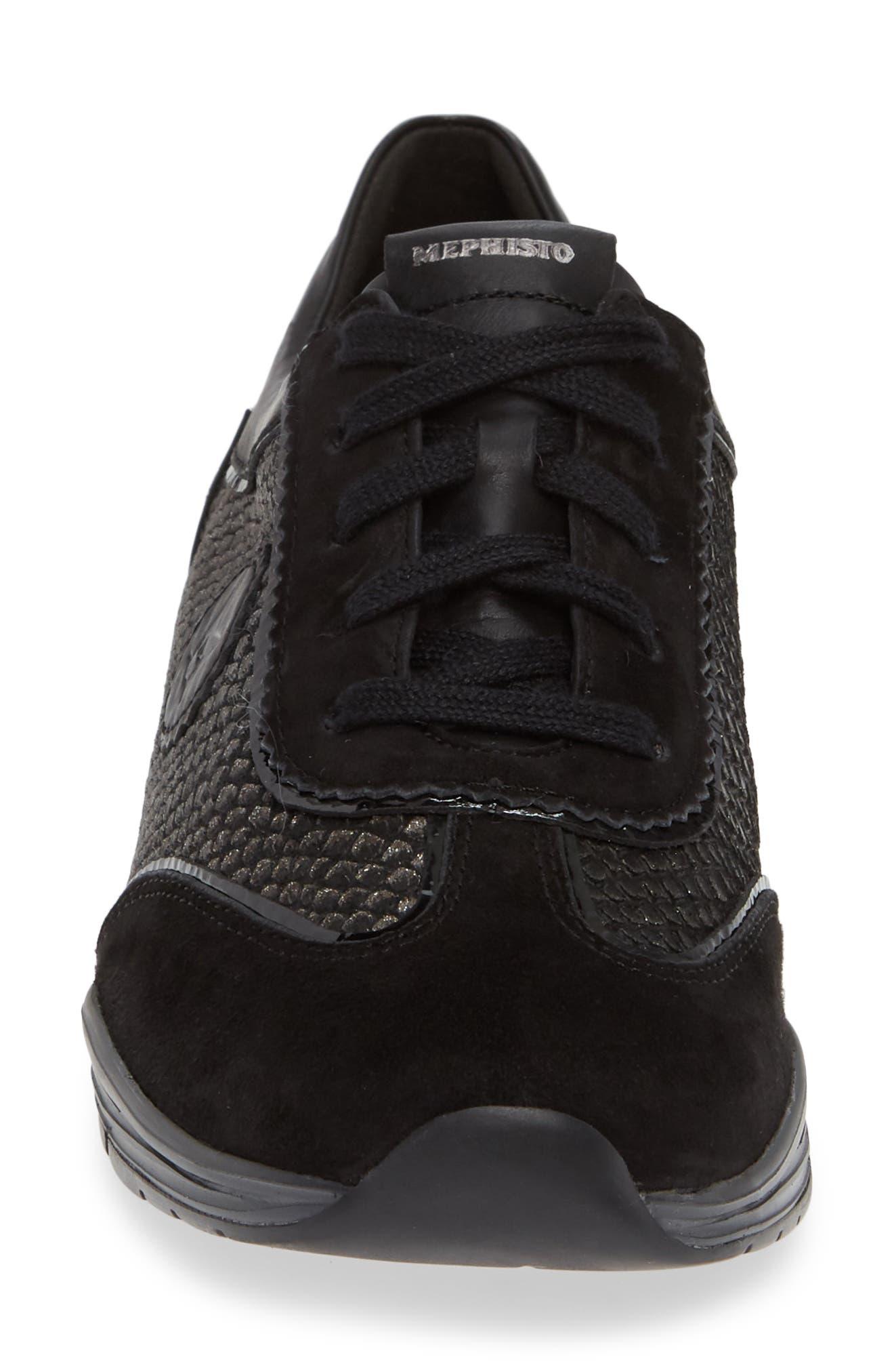 MEPHISTO, 'Yael' Soft-Air Sneaker, Alternate thumbnail 4, color, BLACK SUEDE