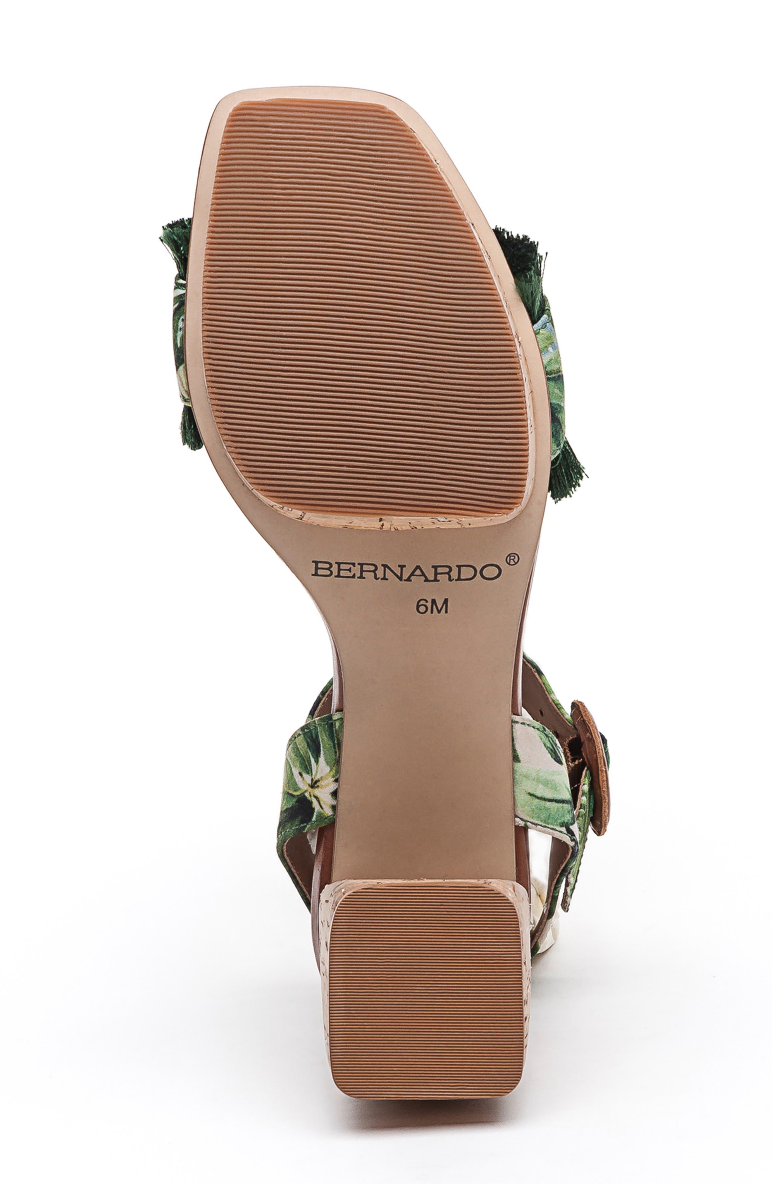BERNARDO, Reagan Platform Sandal, Alternate thumbnail 6, color, PALM FABRIC