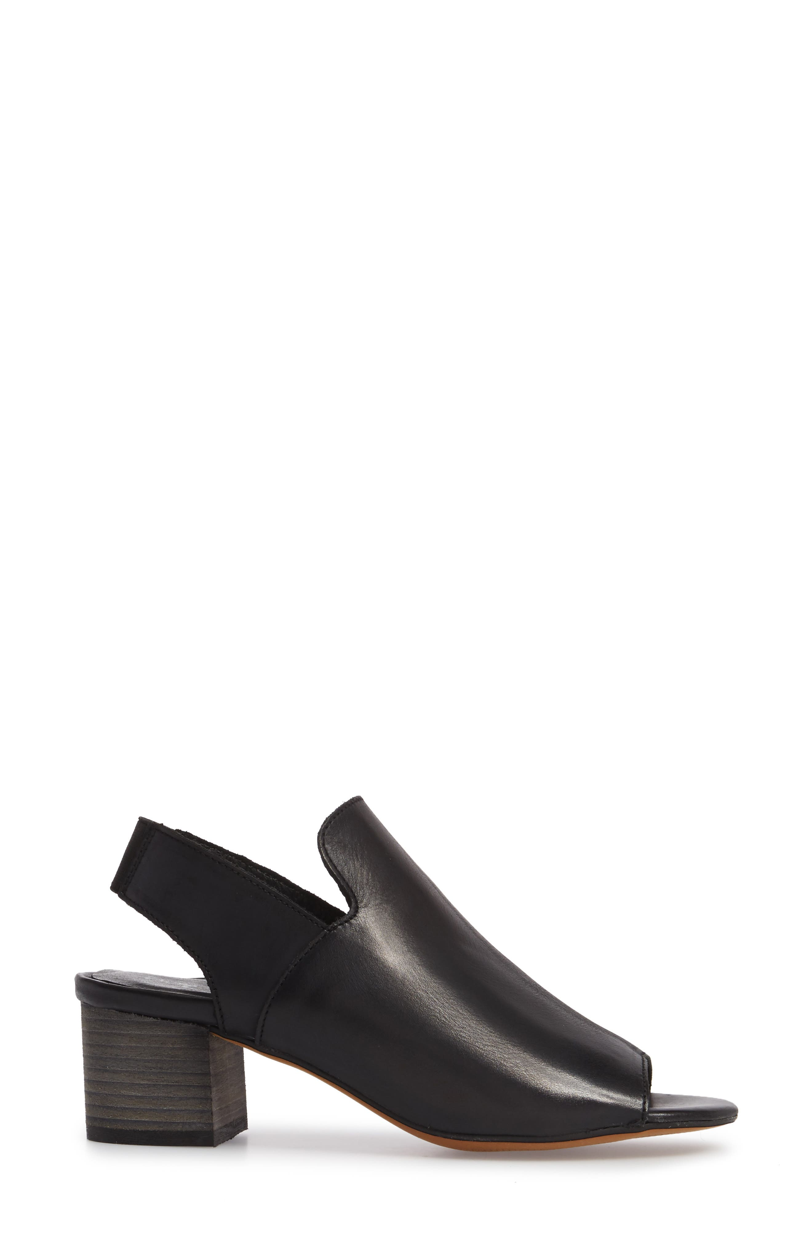 BOS. & CO., Zaire Slingback Sandal, Alternate thumbnail 3, color, BLACK GLAMOUR LEATHER