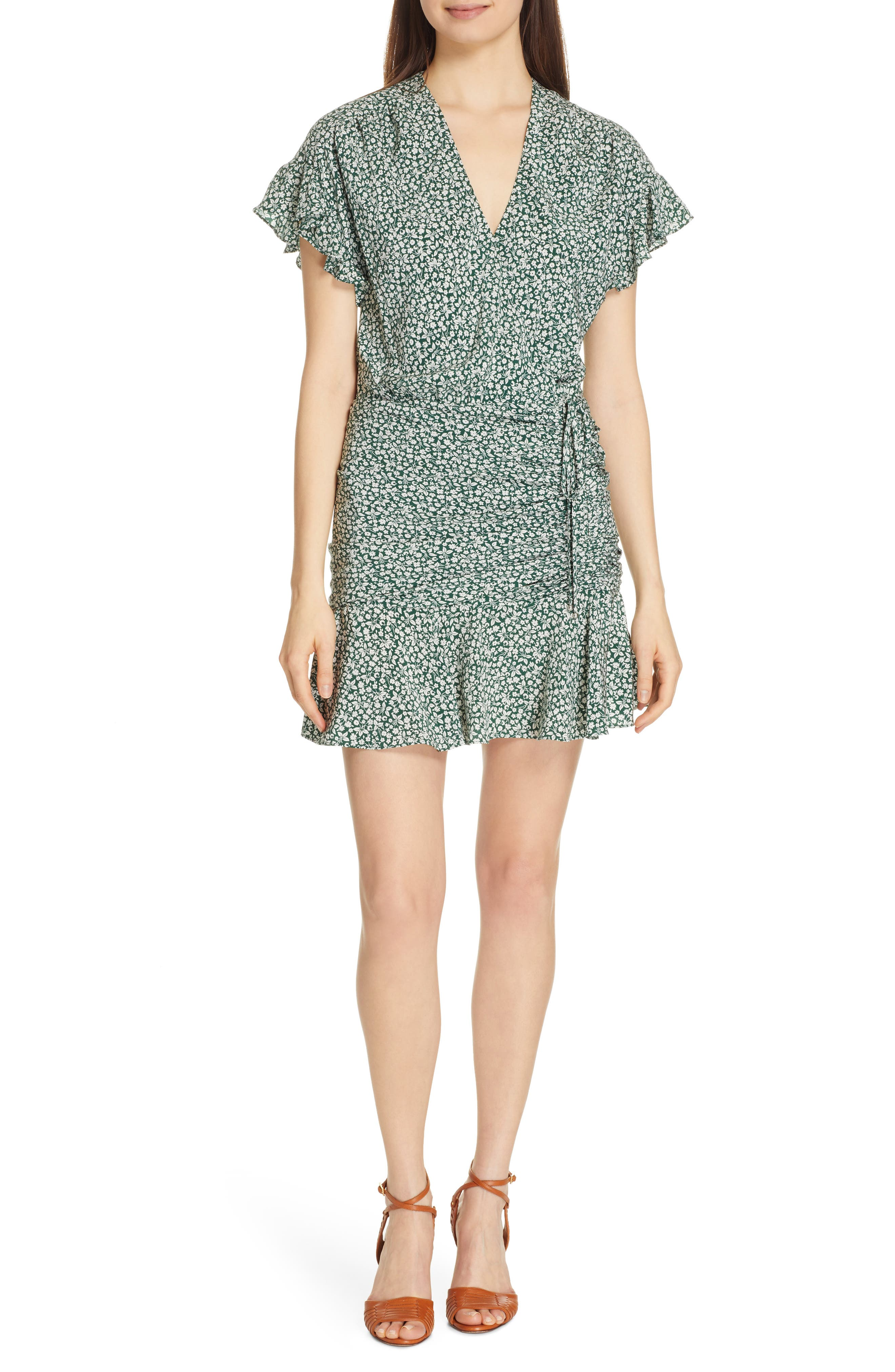 VERONICA BEARD, Marla Tie Ruched Silk Minidress, Main thumbnail 1, color, FOREST GREEN