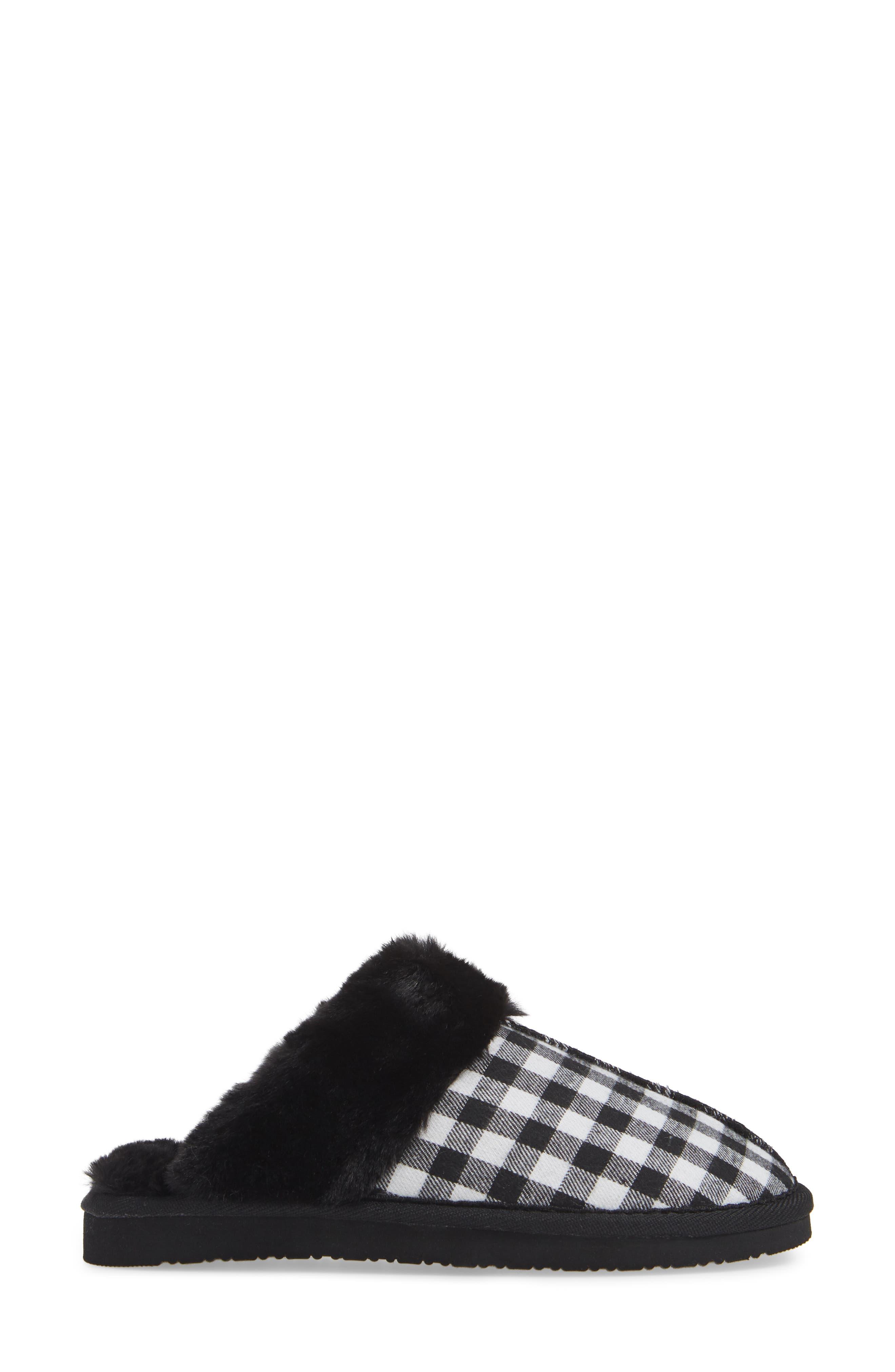 MINNETONKA, Mule Slipper, Alternate thumbnail 3, color, BLACK/ WHITE PLAID FABRIC