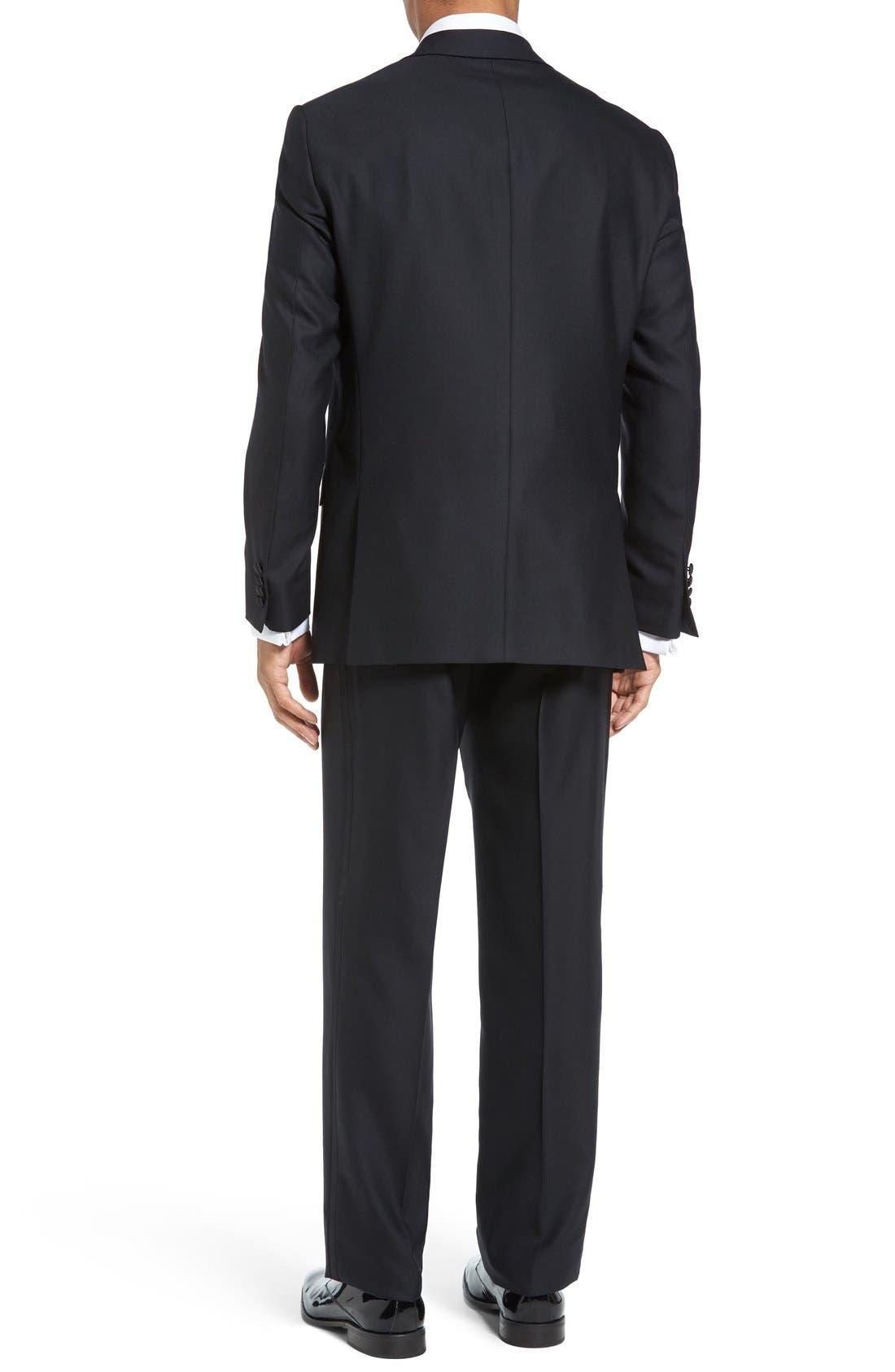 HART SCHAFFNER MARX, New York Classic Fit Black Wool Tuxedo, Alternate thumbnail 2, color, BLACK