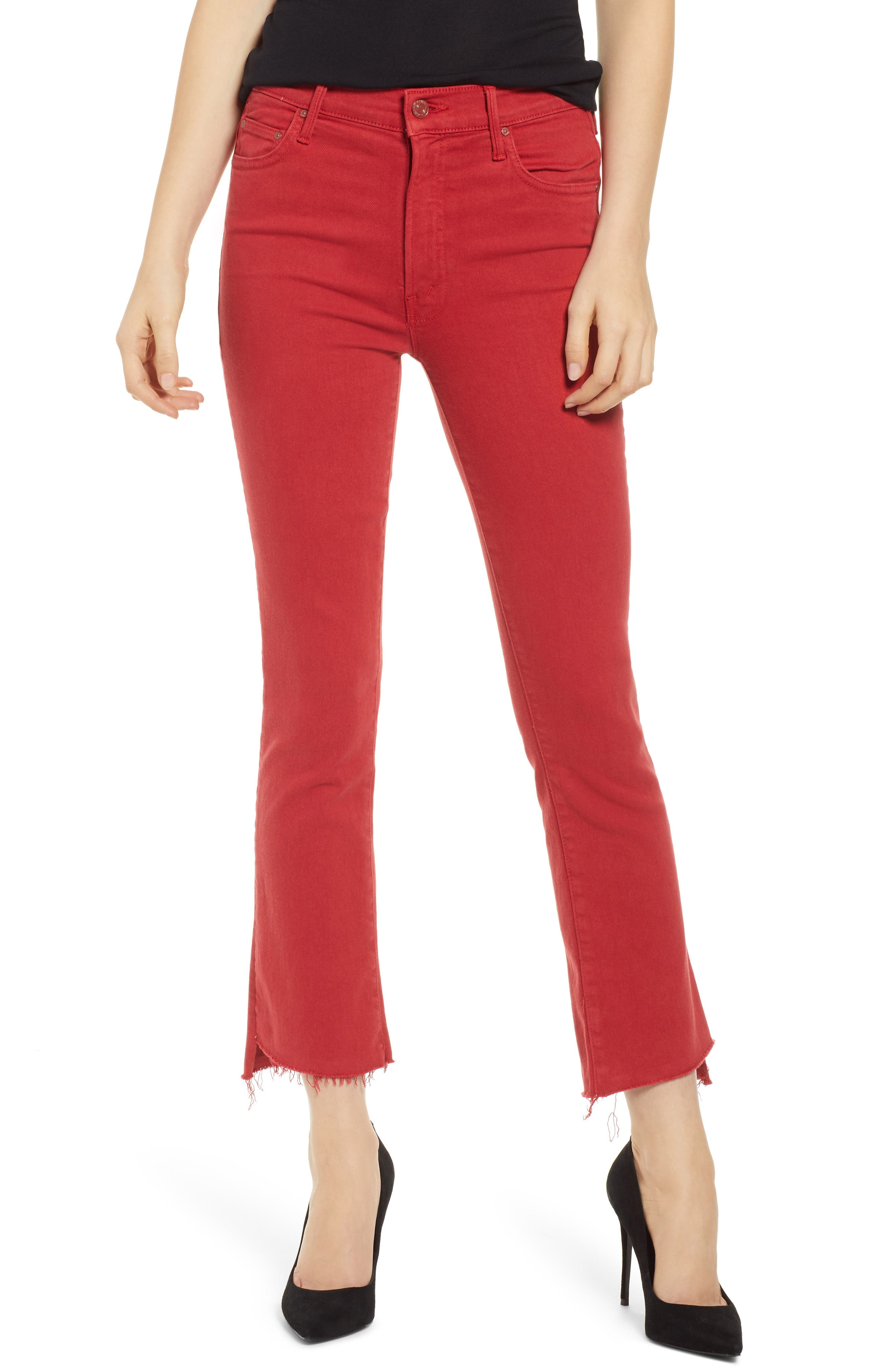 MOTHER, The Insider Step Hem Crop Jeans, Main thumbnail 1, color, HOT ROD RED