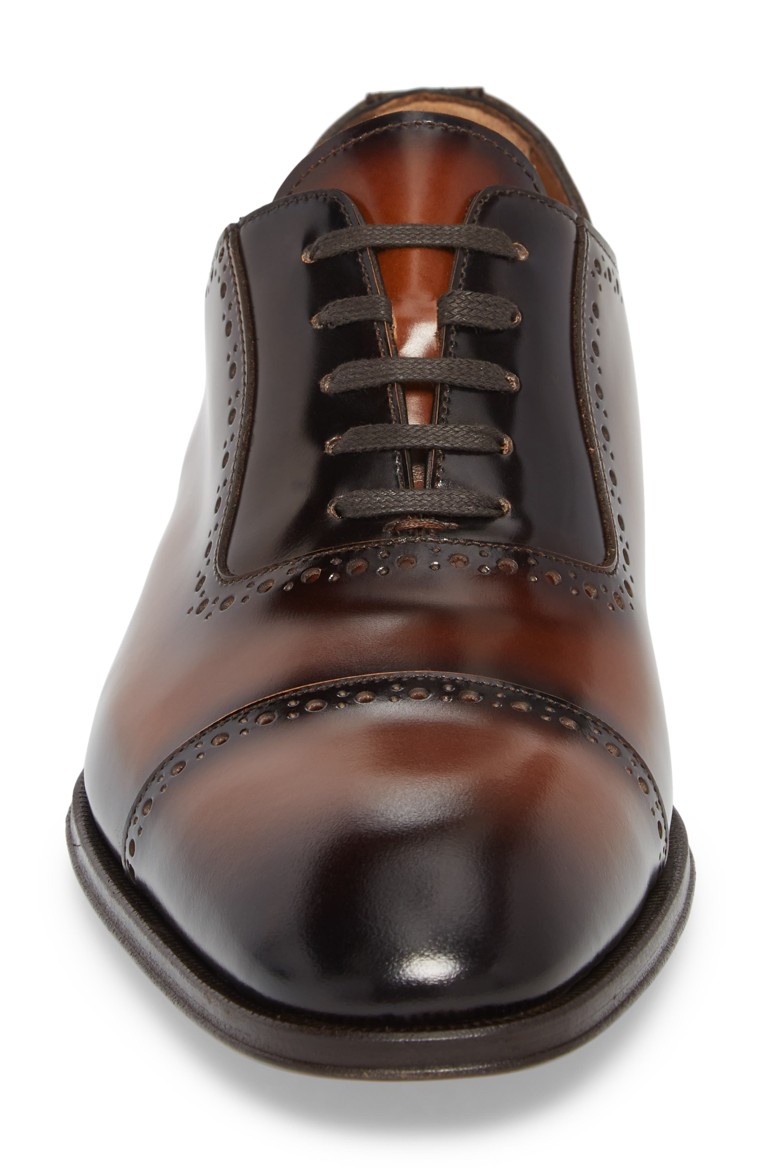 BRUNO MAGLI, Lucca Cap Toe Oxford, Alternate thumbnail 4, color, COGNAC